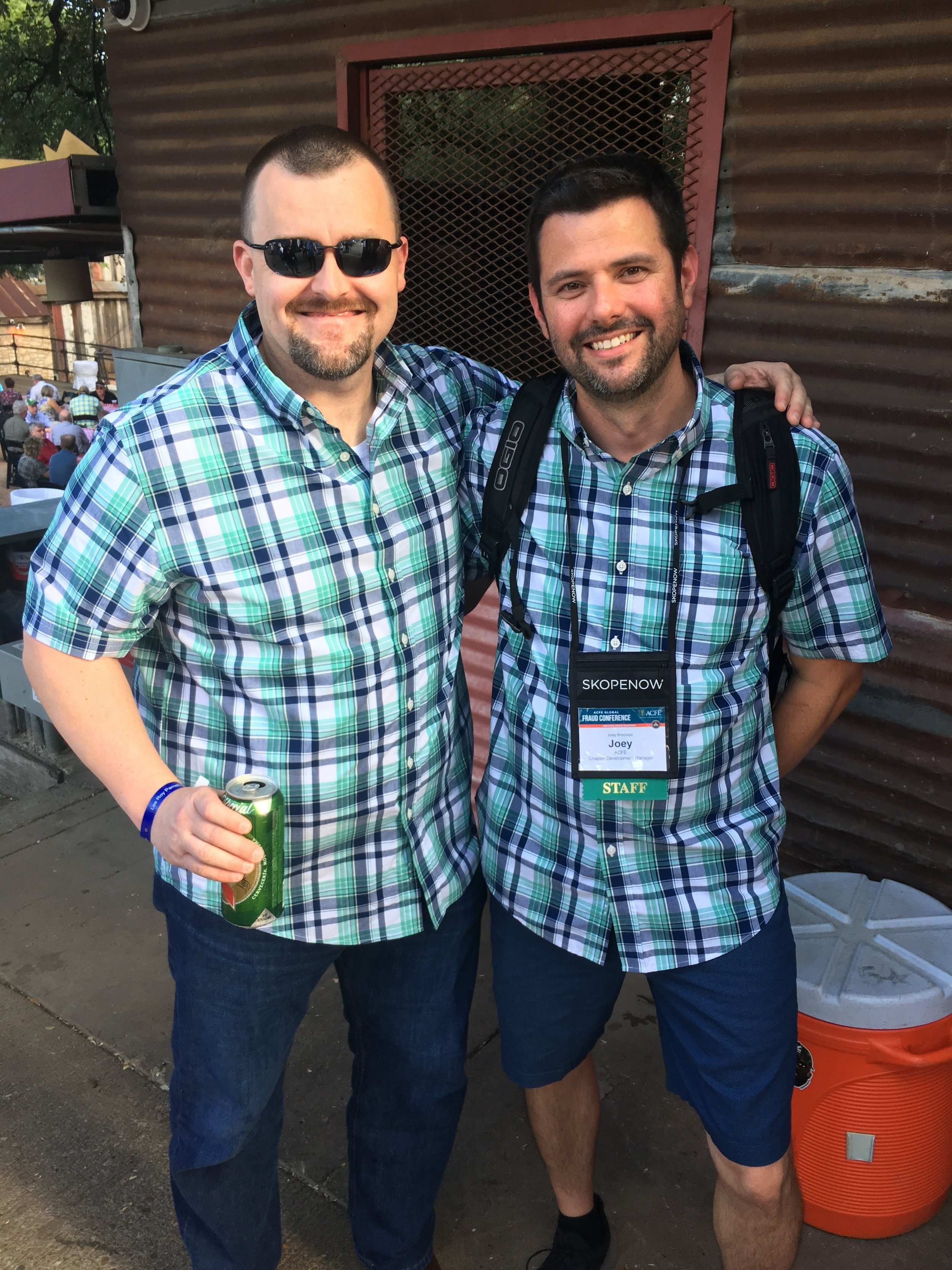 Ryan Hubbs and Joey Broccolo wearing the same outfit at the concert.