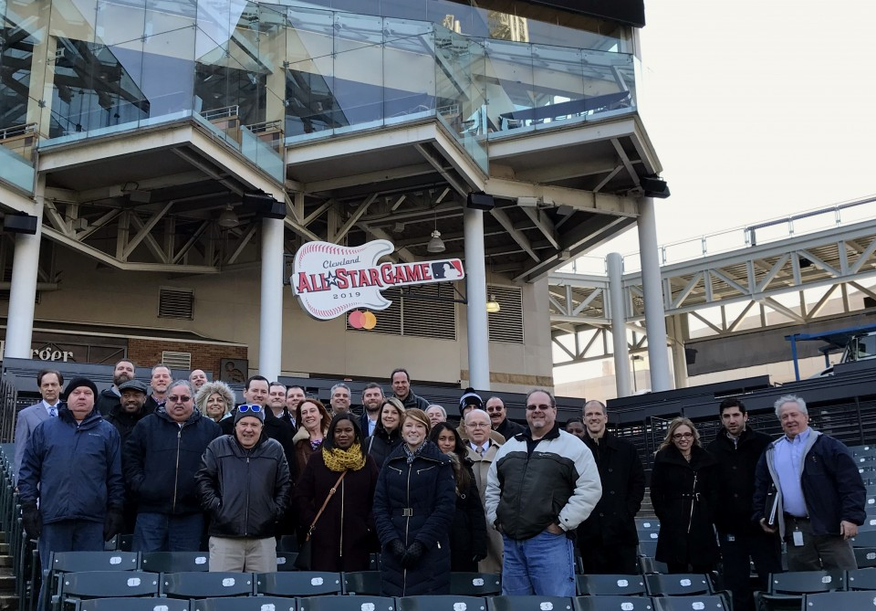 NEO Chapter leaders and attendees after their event at the Cleveland Indians baseball stadium.