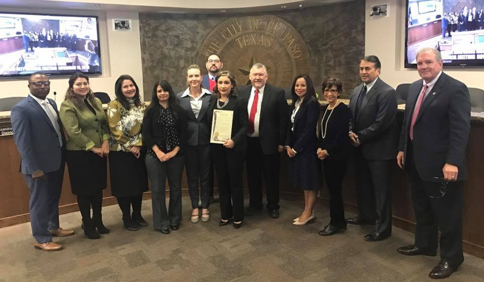 El Paso Chapter Leaders with the Mayor of El Paso sharing their proclamation that November 11-17, 2018 shall be known as Fraud Awareness and Prevention Week