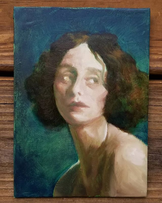 Tiny portrait of Anna Pavlova. Still wet, and I'm not thrilled with the way the gesso sucked in some of these colors. But I'm otherwise happy to be pushing colored mud around again.  4x6, oil on panel  #instart #portrait #painting #oilpainting #portraitpainting #oilpaint #oilonpanel #newpainting #paintanyway #artistsoninstagram #artistsofinstagram #oilpaintingart #fineart #contemporaryart #representativeart