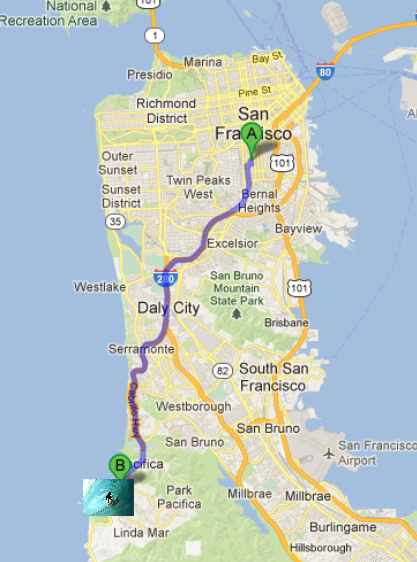 Route to Pacifica - a well known surf spot