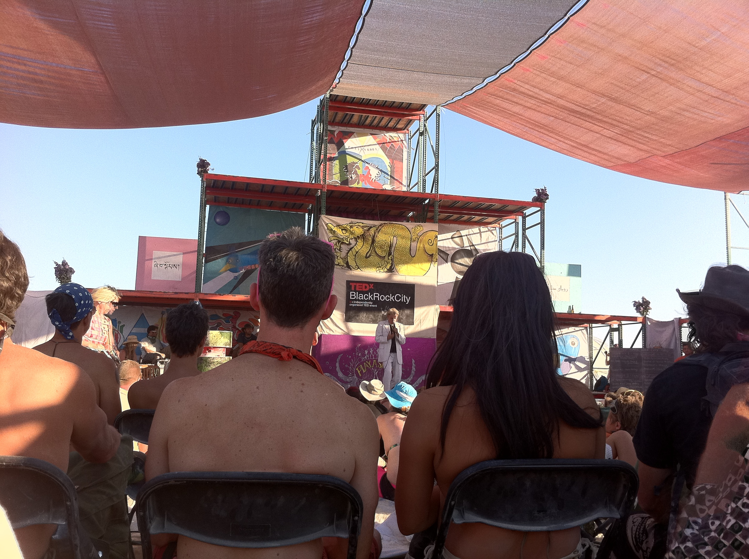 My view at a TEDx talk in the middle of Black Rock City