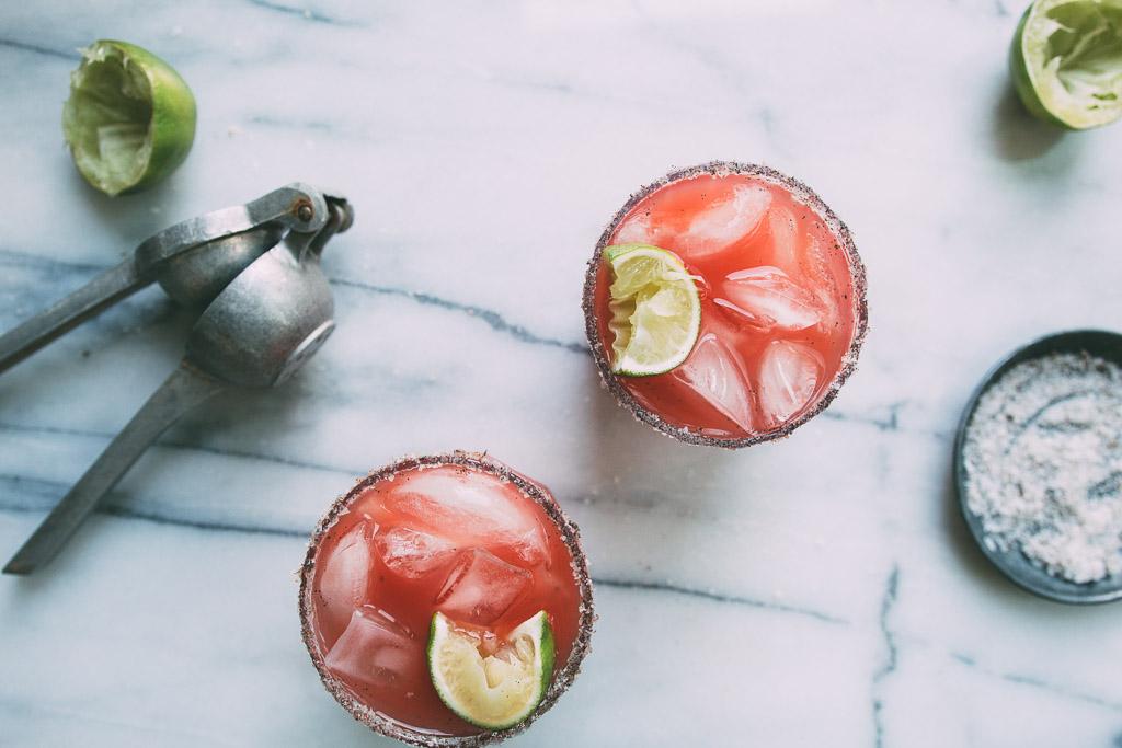honey-watermelon cocktail with a vanilla-salt rim // millys-kitchen.com