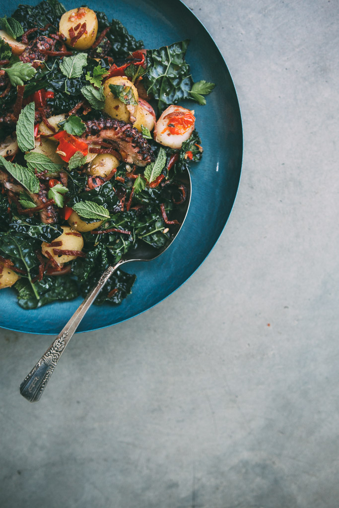 Warm Potato Kale and Octopus Salad with Chorizo Vinaigrette // Millys-Kitchen.com