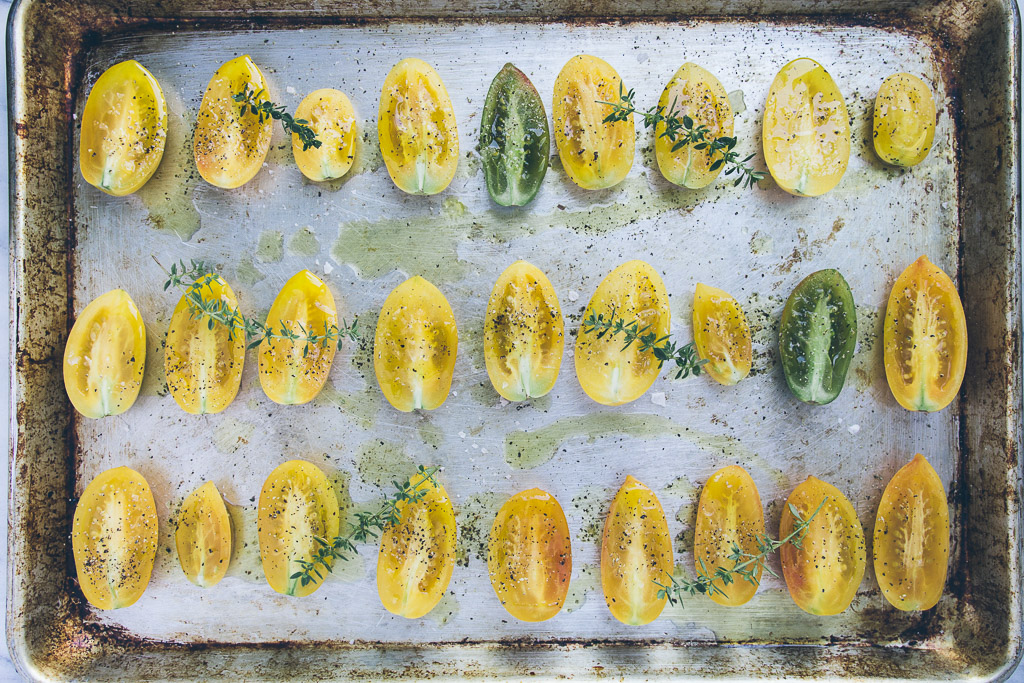 slow roasted tomato pasta with lemon, ricotta and seeds