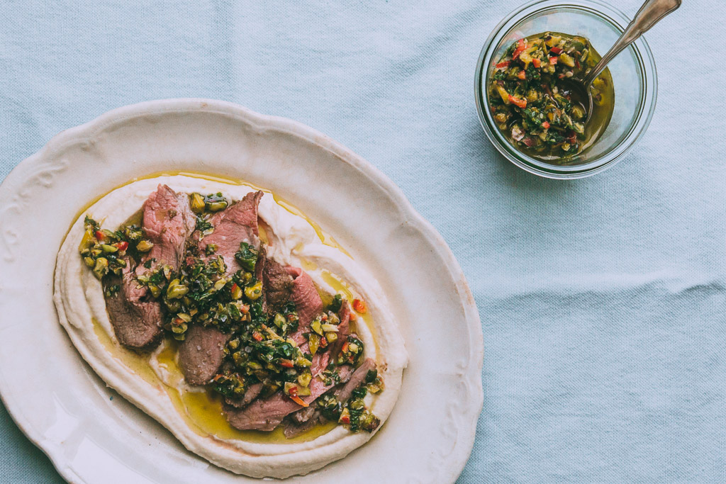 roast lamb with cilantro-pistachio pesto // millys-kitchen.com