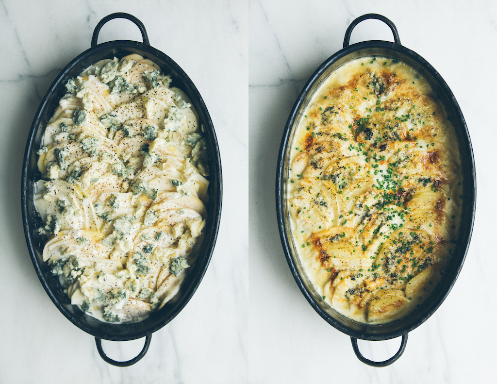 celery root gratin with apple and blue cheese
