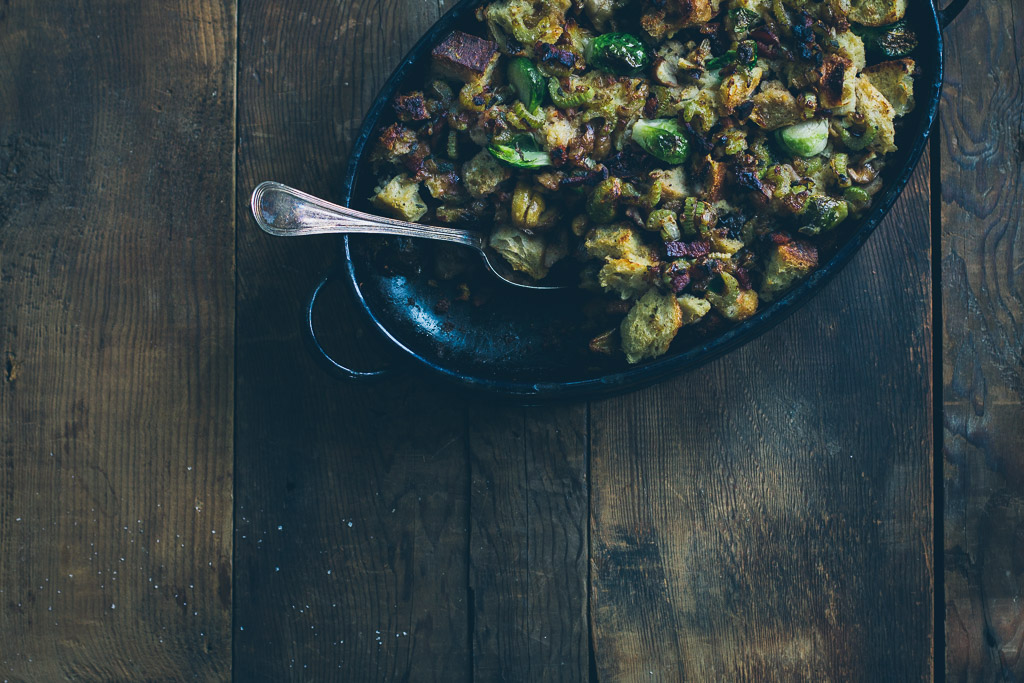 brussels sprout stuffing with bacon and chestnuts