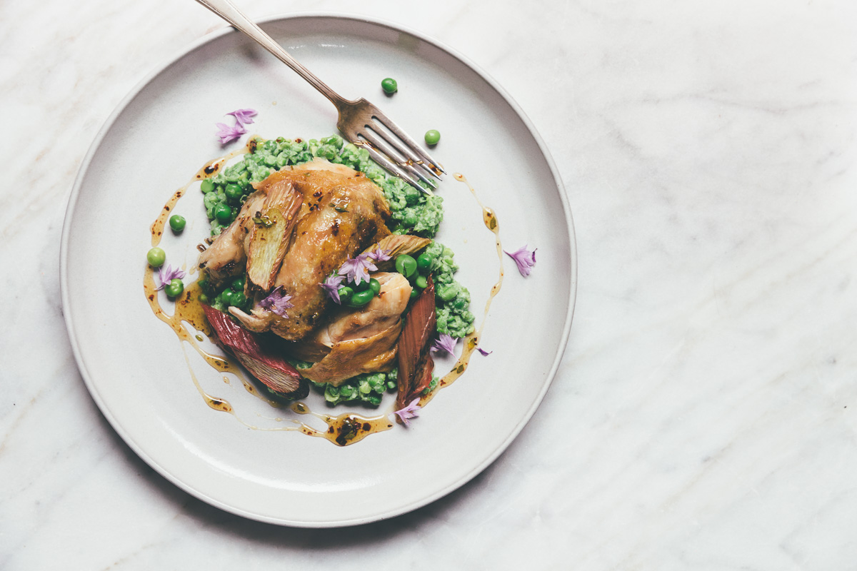 roasted chicken with smashed peas, rhubarb and aleppo honey on millys-kitchen.com