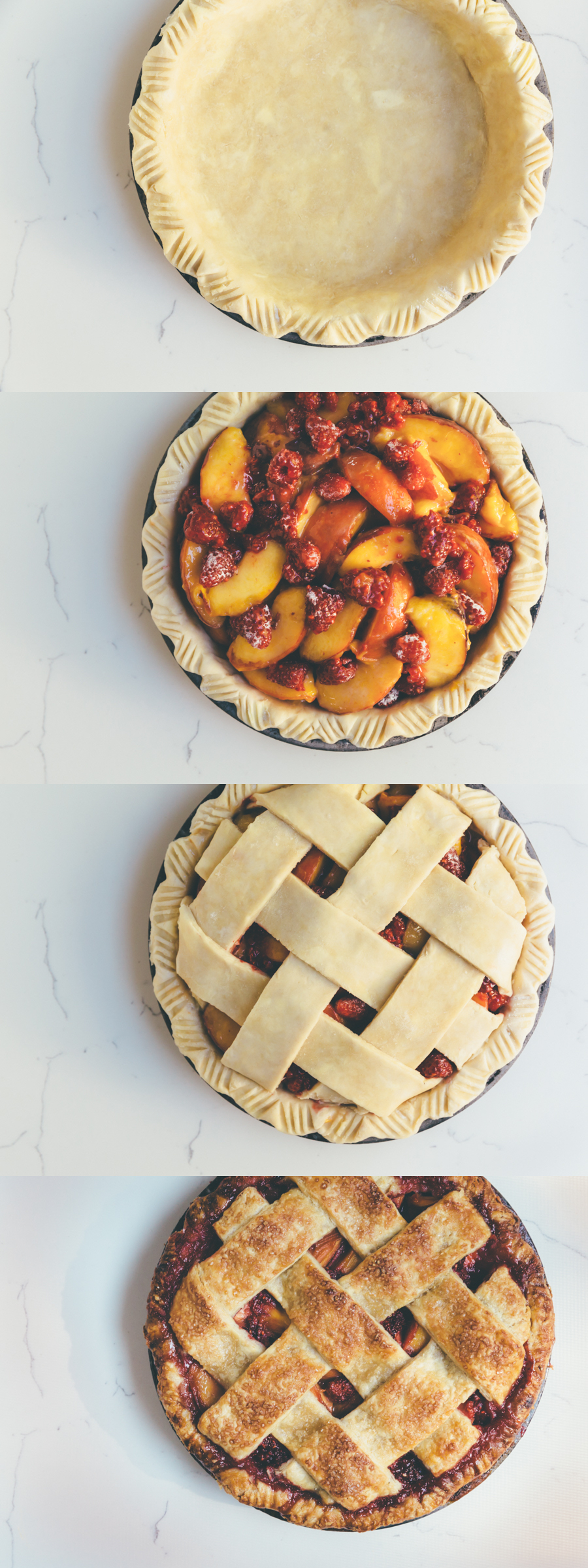 peach-raspberry pie on millys-kitchen.com