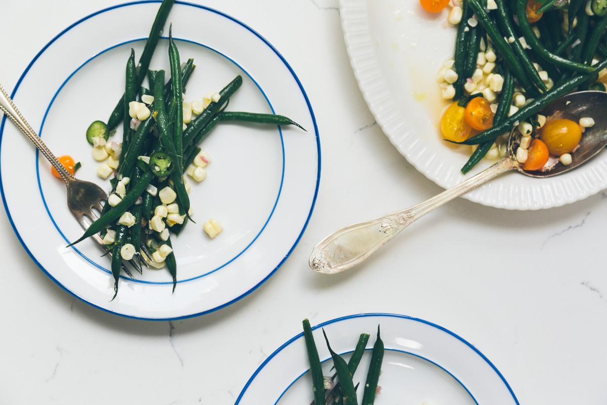 green bean, tomato and corn salad with serrano vinaigrette on millys-kitchen.com
