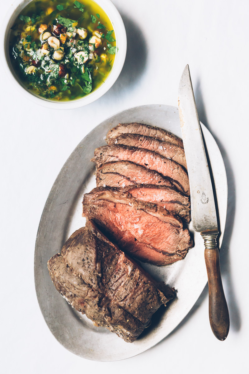 salt-roasted beef with lemon-hazelnut pesto on millys-kitchen.com
