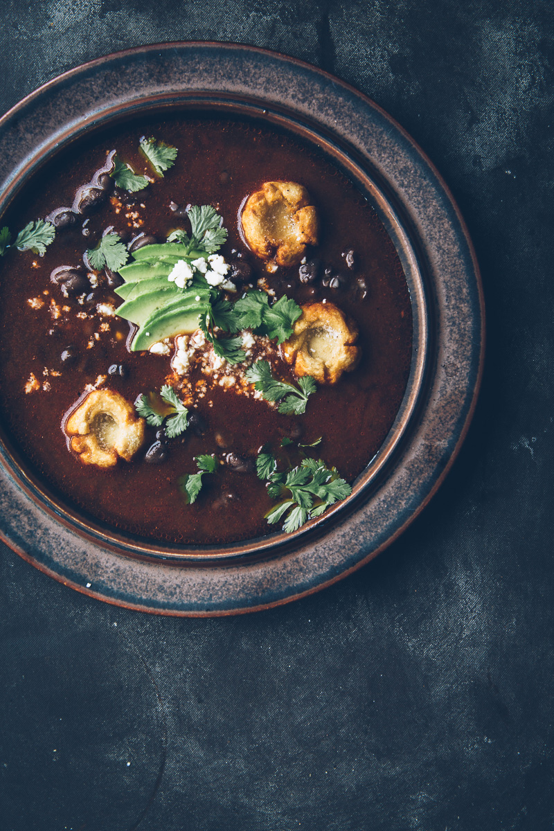 Smoky Tomato Broth with Masa Dumplings and Black Beans