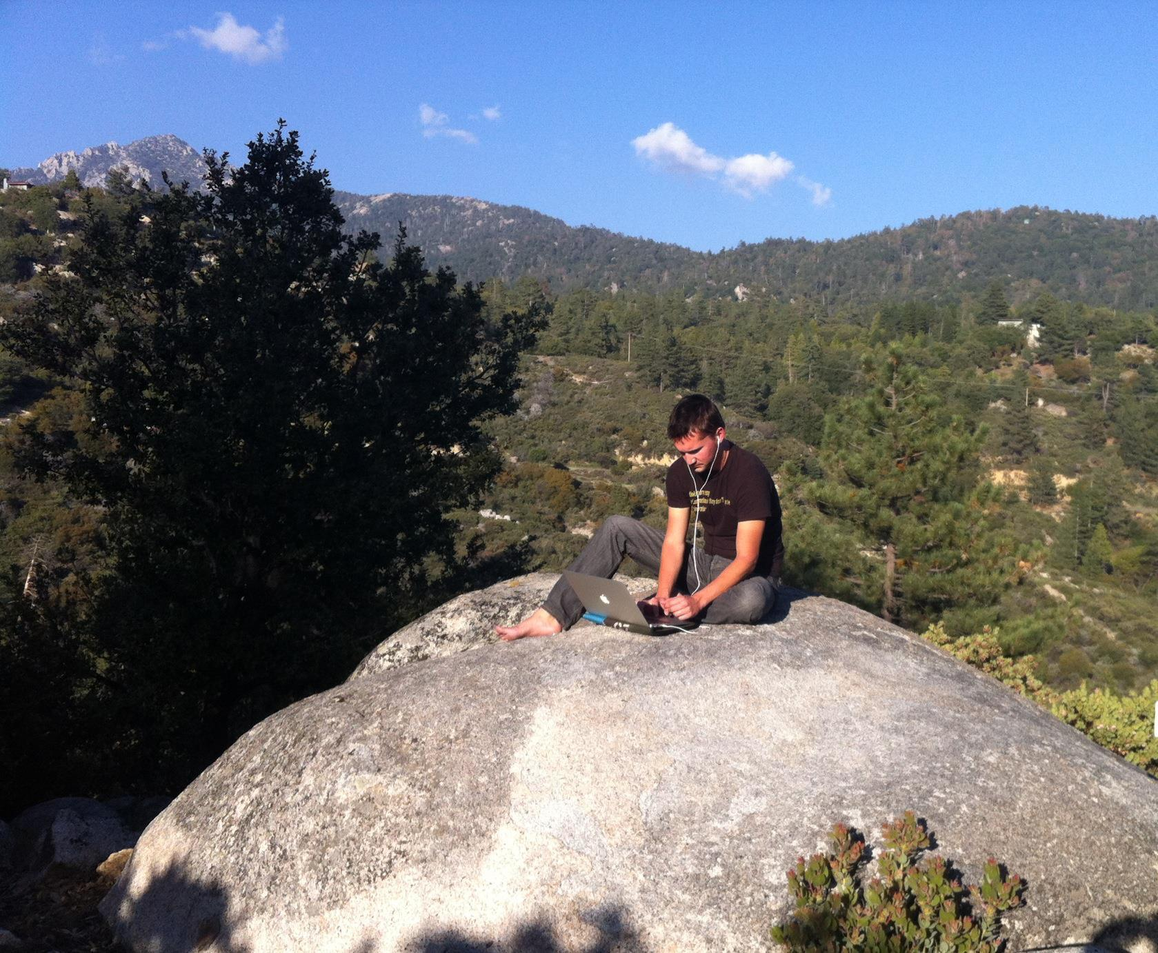 Writing music in Idyllwild.