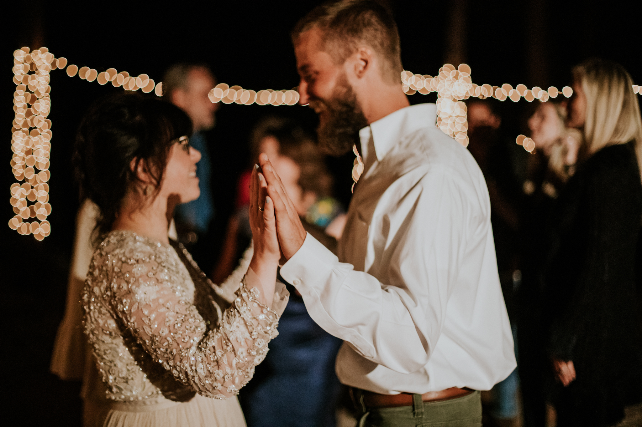 Taos New Mexico Elopement Photographer - tented backyard reception - dancing
