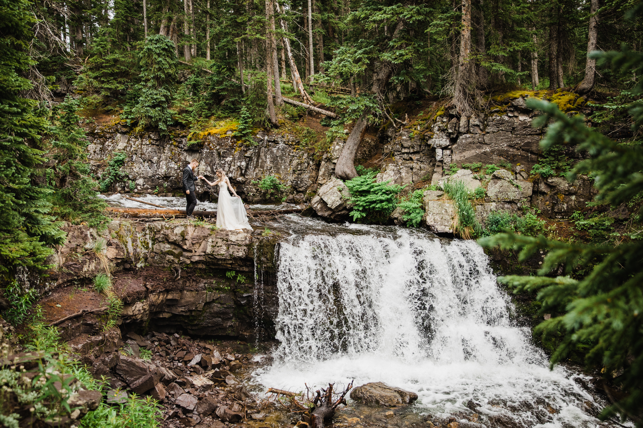 Colorado Elopement Photographer | Waterfall Hiking Elopement