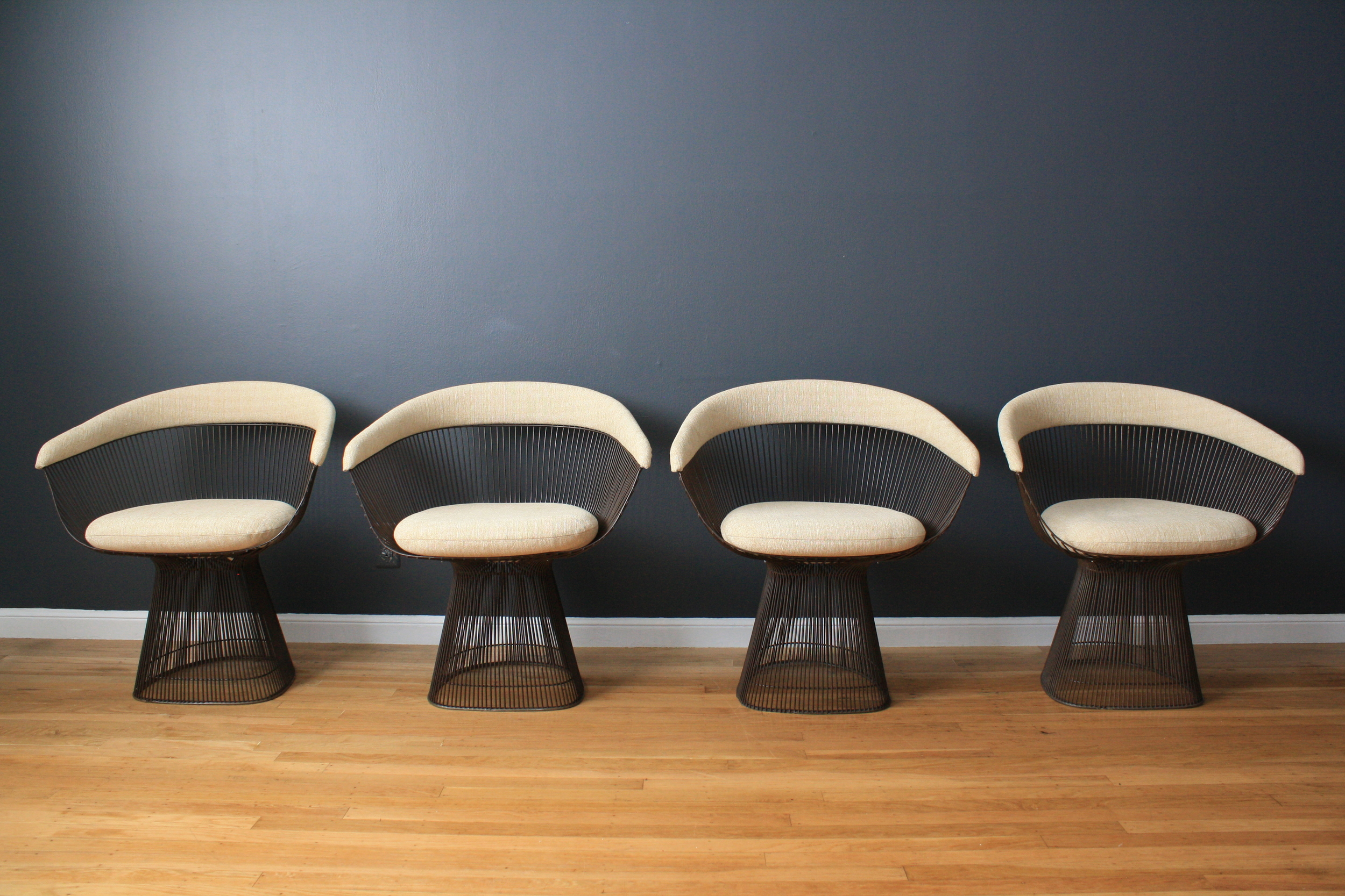 Set of Four Bronze Chairs by Warren Platner for Knoll