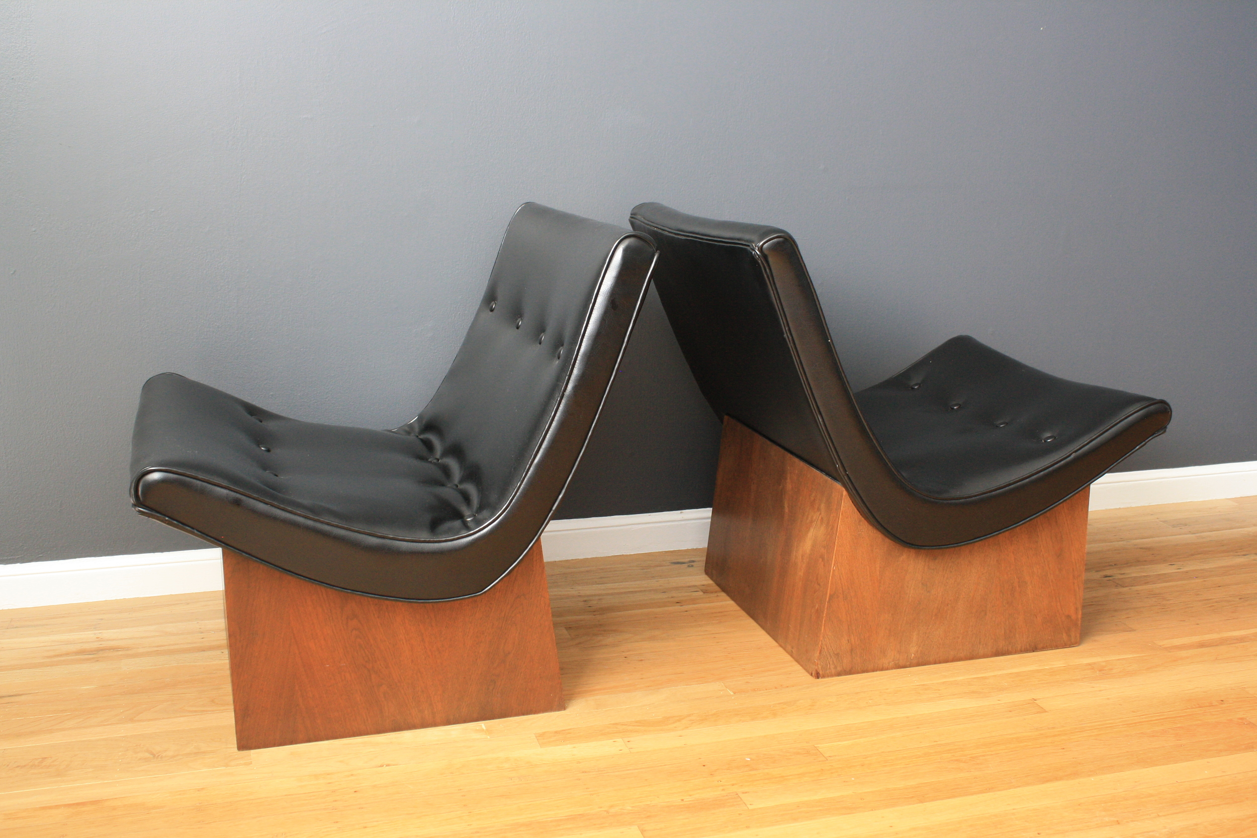 Pair of Vintage Milo Baughman Scoop Chairs