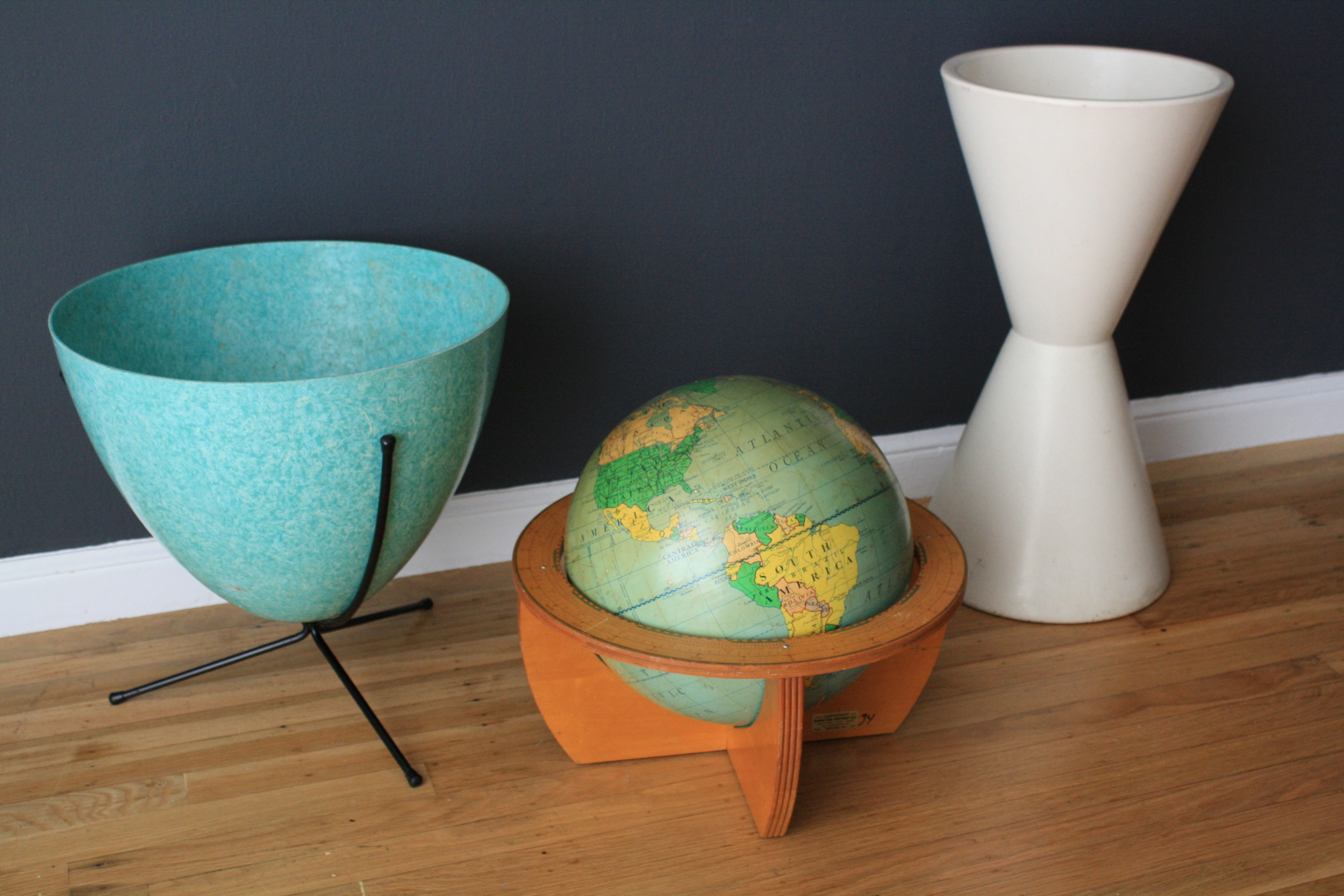 Vintage Bullet Planter Globe and Pottery