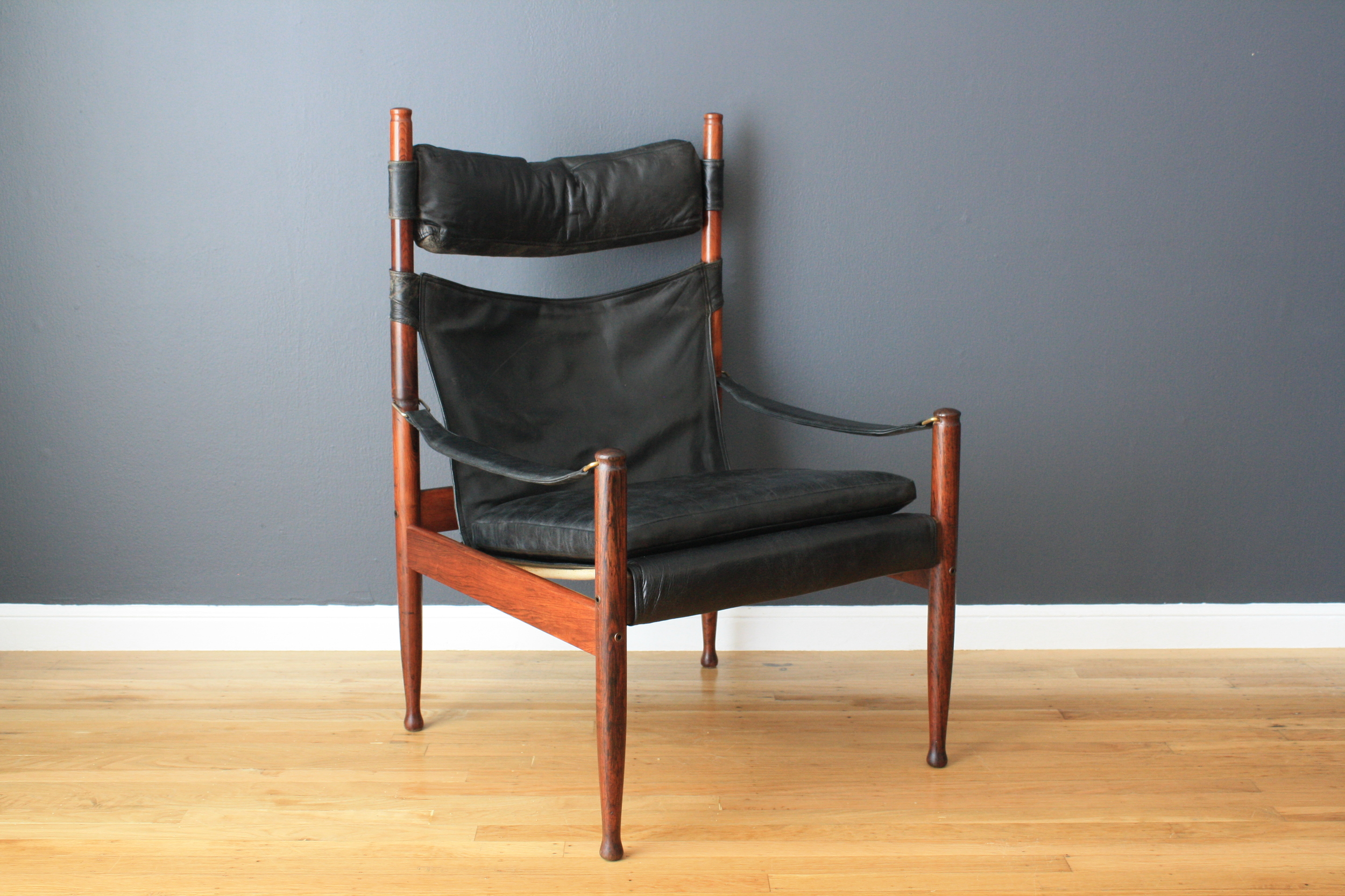 Danish Modern Rosewood Safari Chair by Jens Juul Eilersen and Eric Worts for N. Eilersen A/S