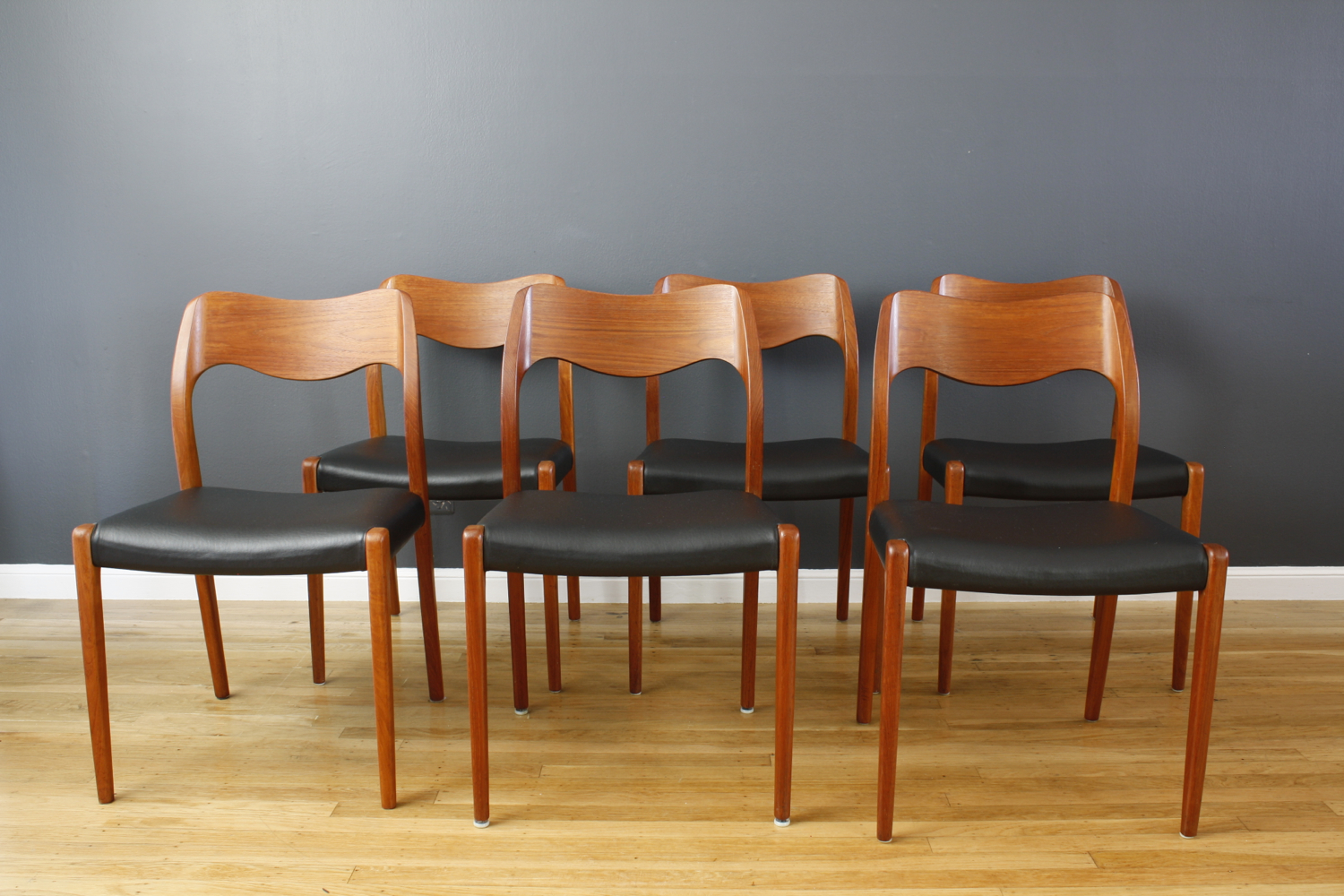Set of Six Vintage Moller Teak Dining Chairs, Model #71