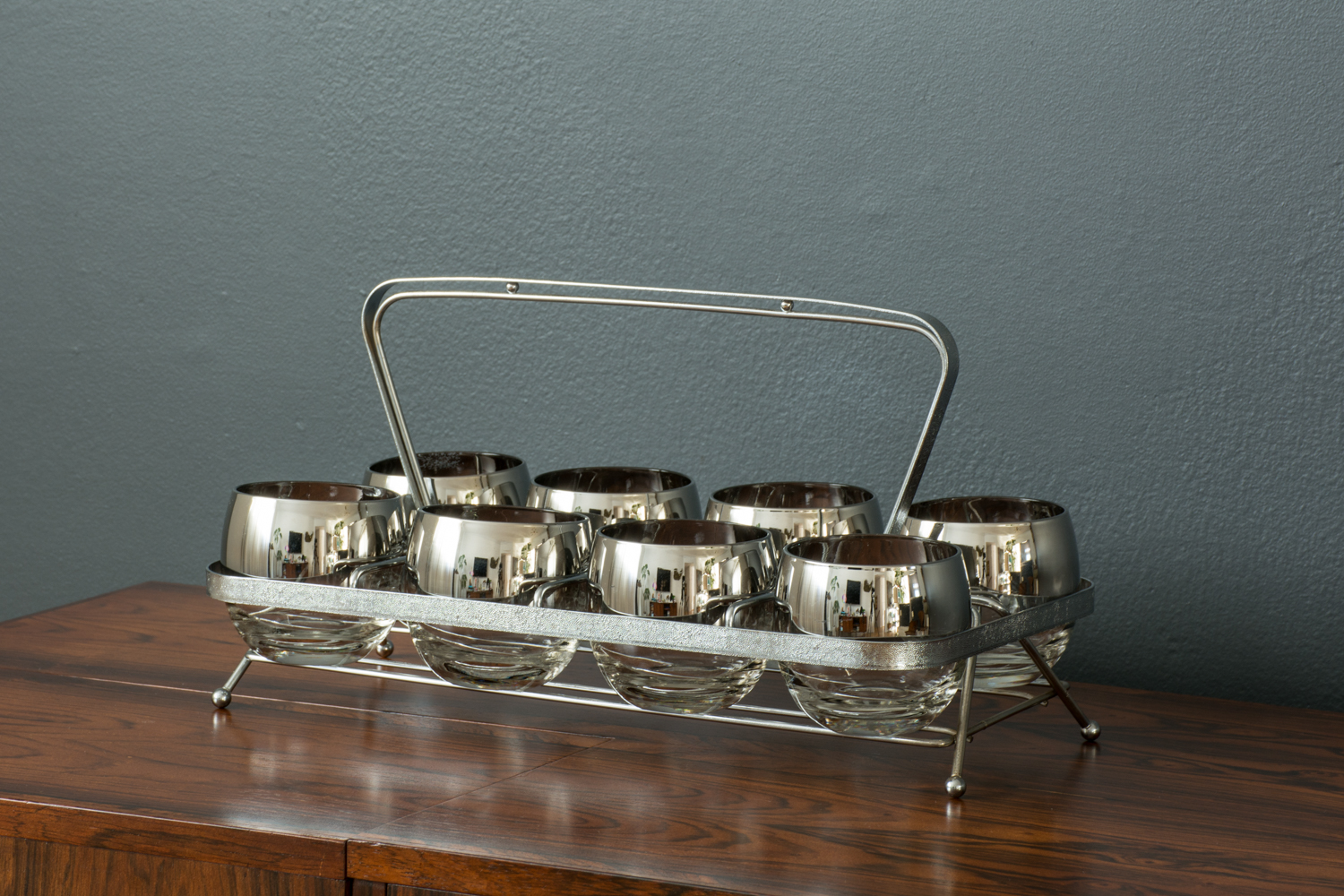 Set of Eight Cocktail Glasses with Caddy