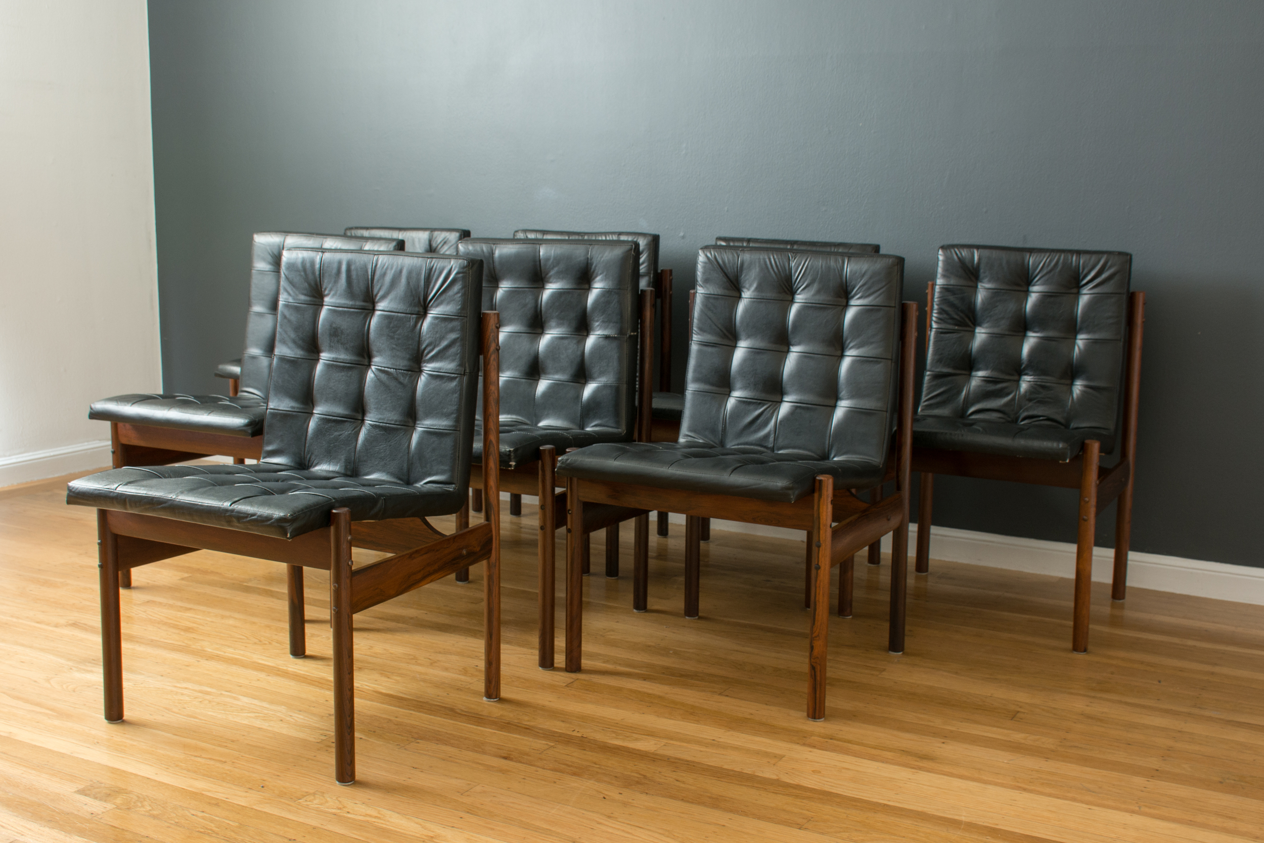 Set of Eight Brazilian Rosewood Dining Chairs by J.D. Moveis e Decoracoes Ltd.