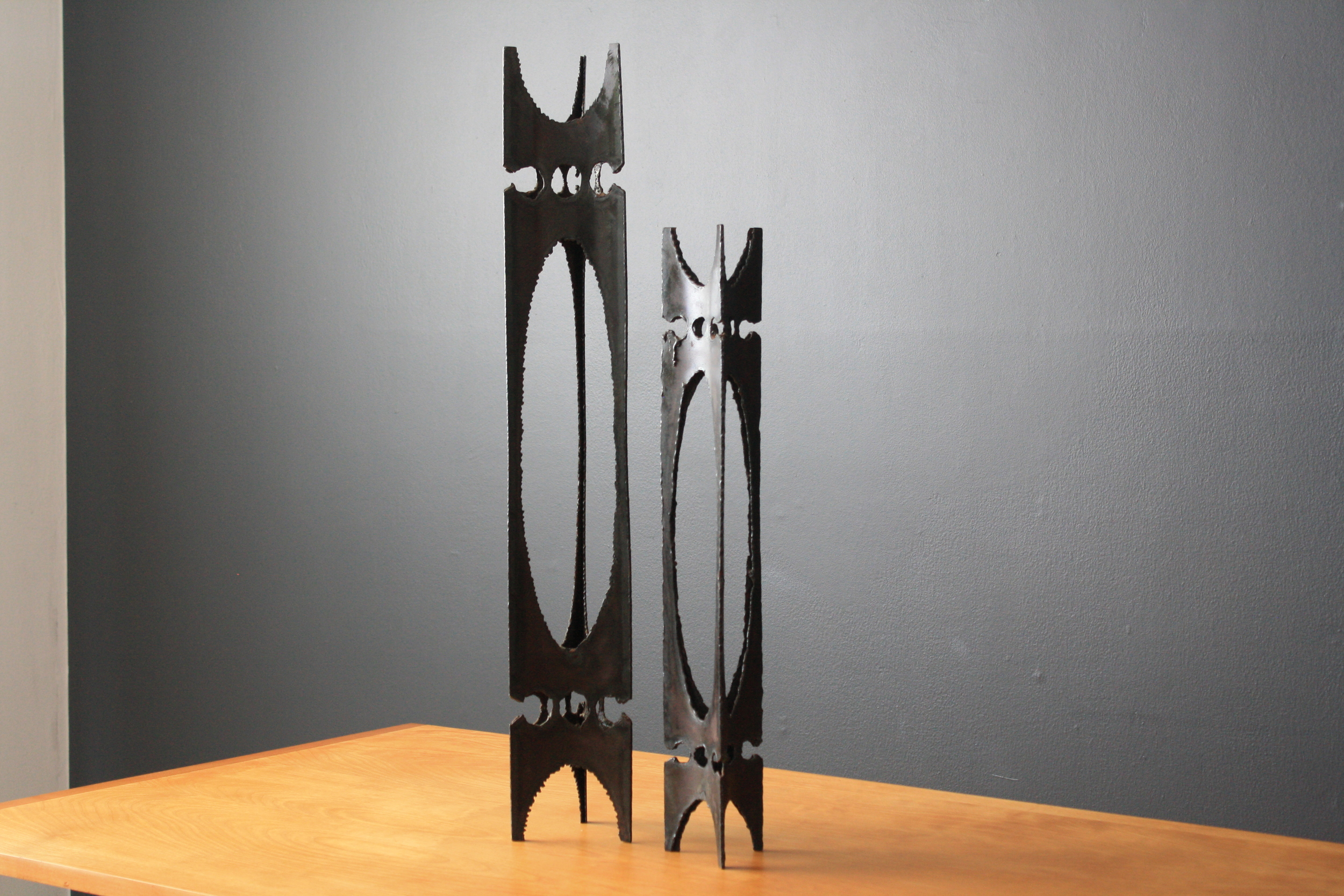 Pair of Vintage Mid-Century Brutalist Candle Holders
