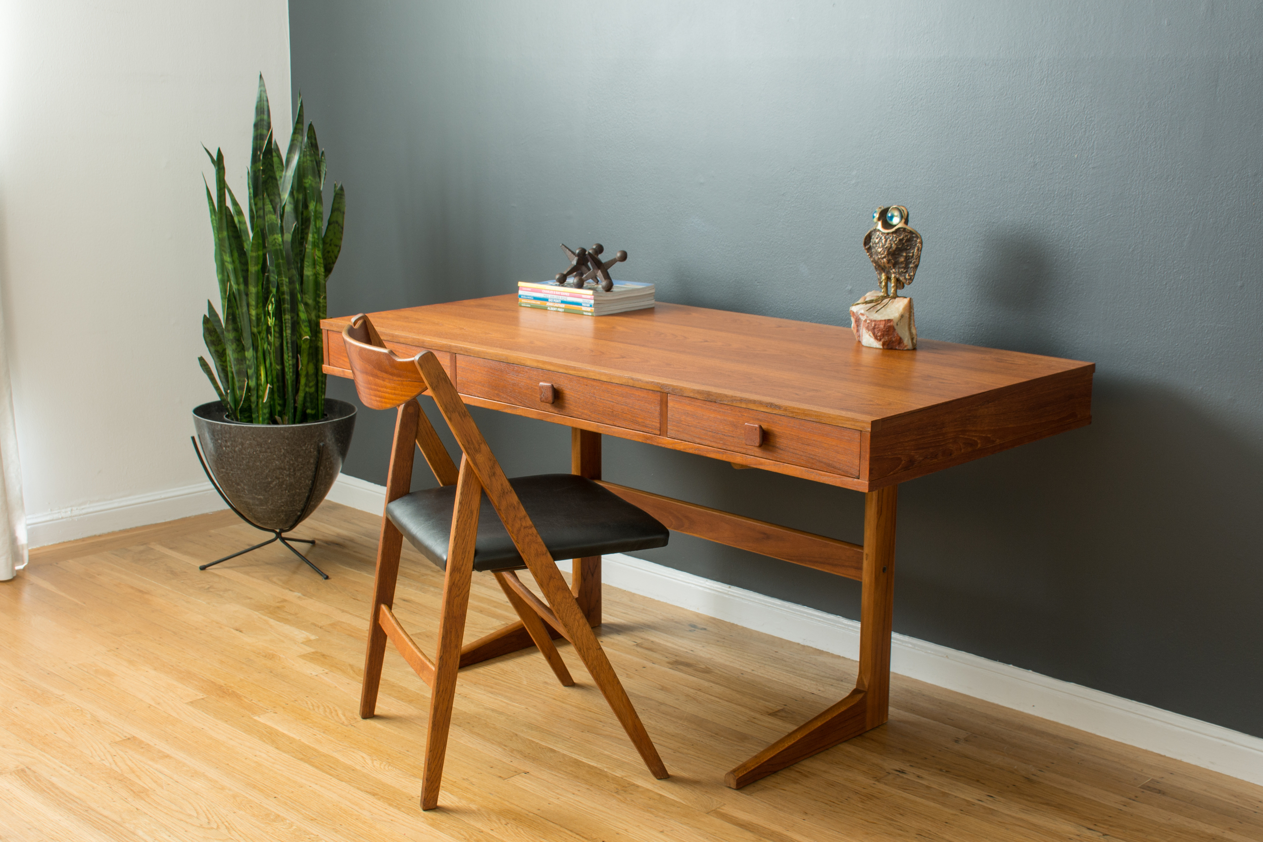 Danish Modern Teak Cantilever Desk by Georg Petersens Mobelfabrik