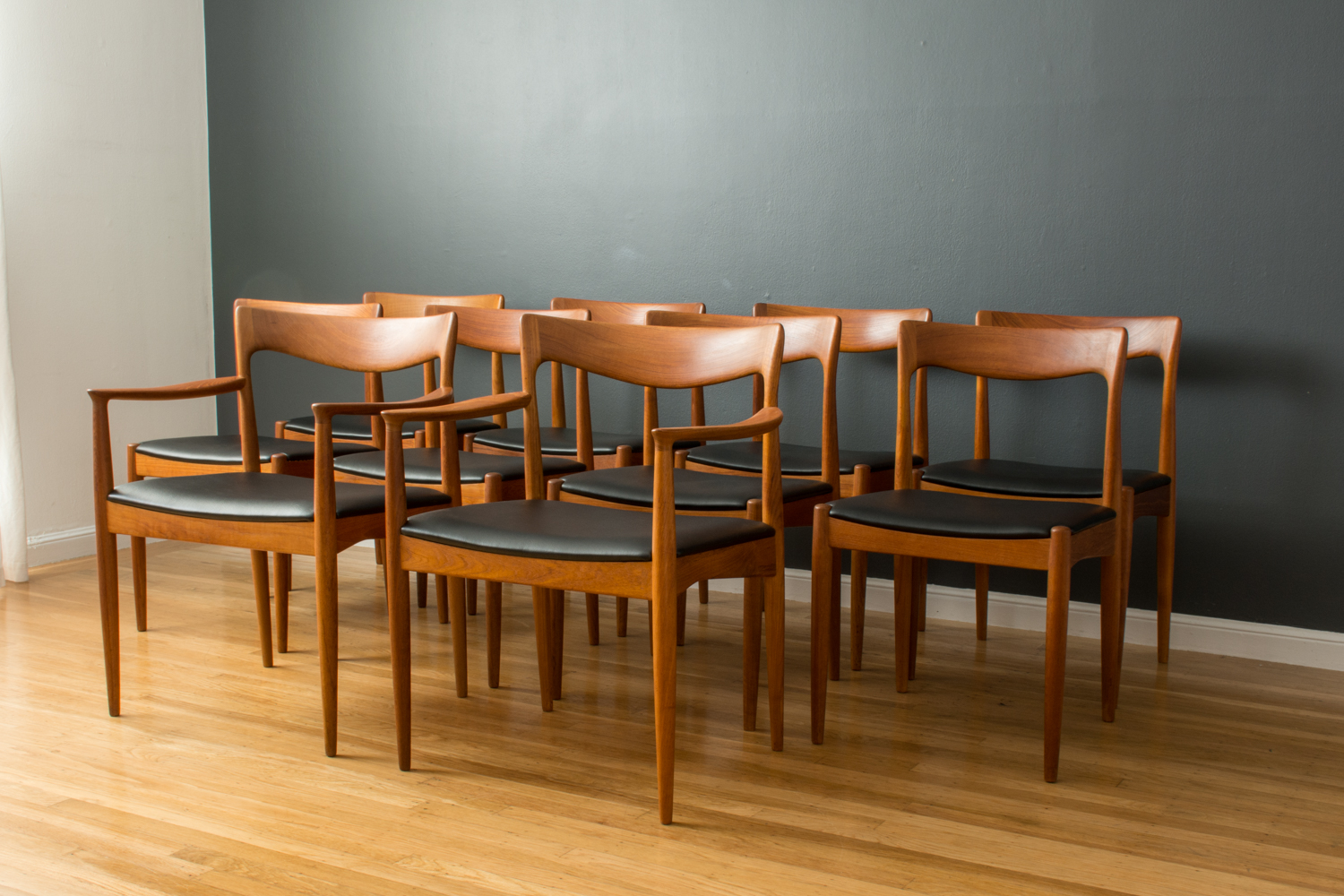 Set of Ten Danish Modern Teak Dining Chairs by Henry Rosengren Hansen
