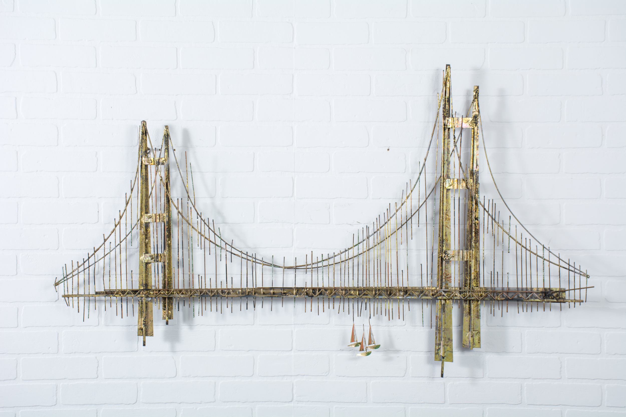 Vintage Mid-Century Bridge Wall Sculpture by Curtis Jere