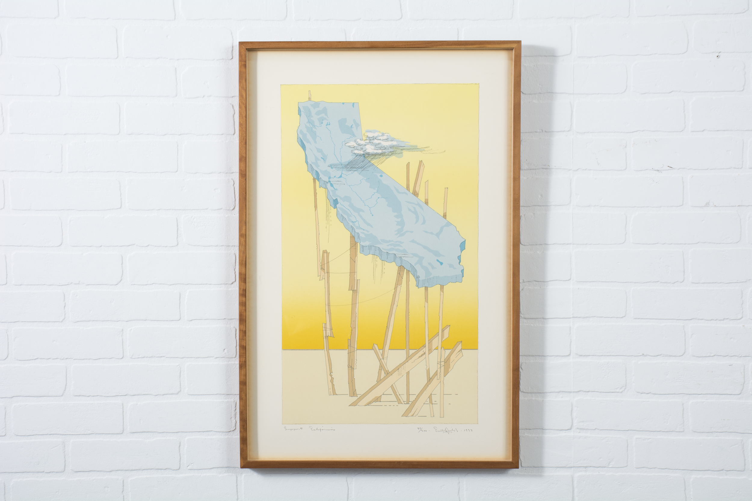 'Support California' Framed Lithograph by William Crutchfield, 1973