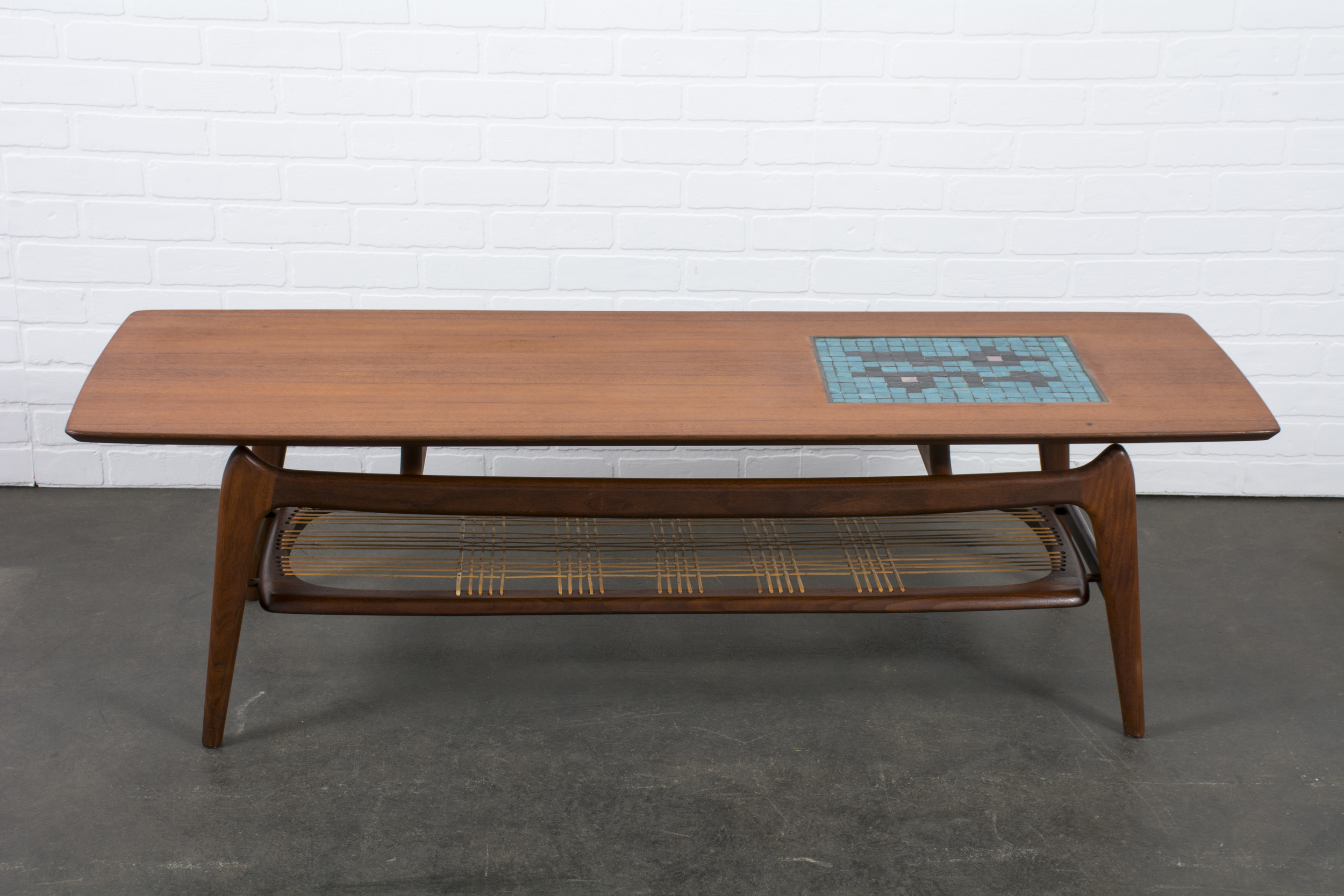 Vintage Mid-Century Coffee Table with Tile Inlay by Louis van Teeffelen
