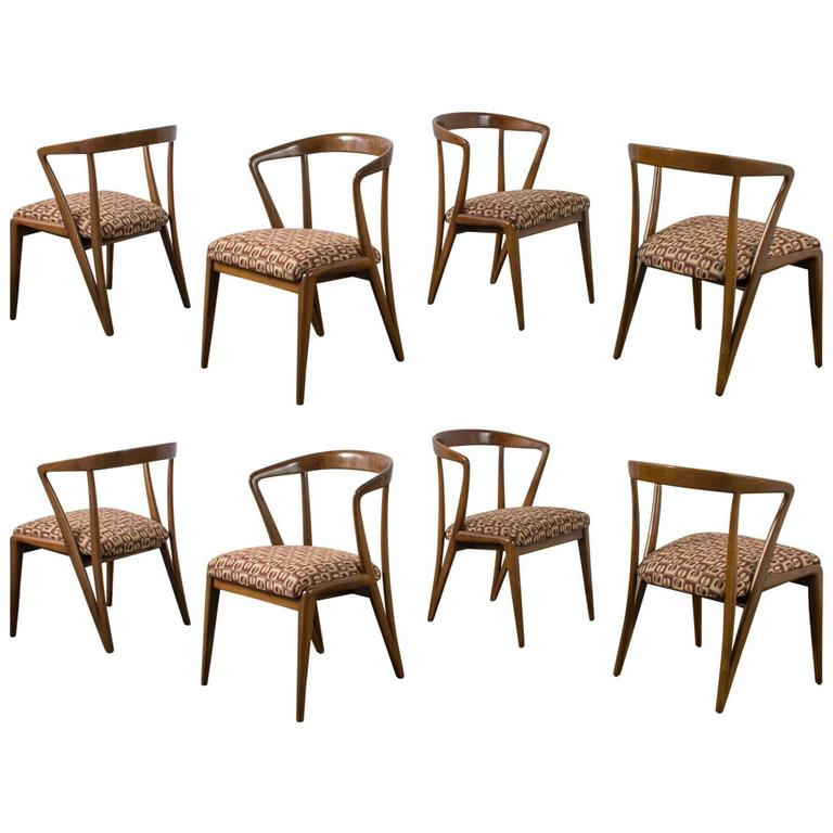 Eight Bertha Schaefer Dining Chairs. Photo: Mid-Century Modern Finds