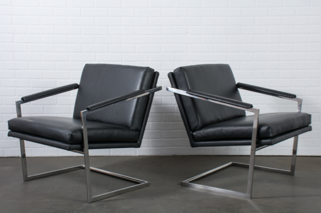 Pair of Chrome and Leather Lounge Chairs by Richard Thompson