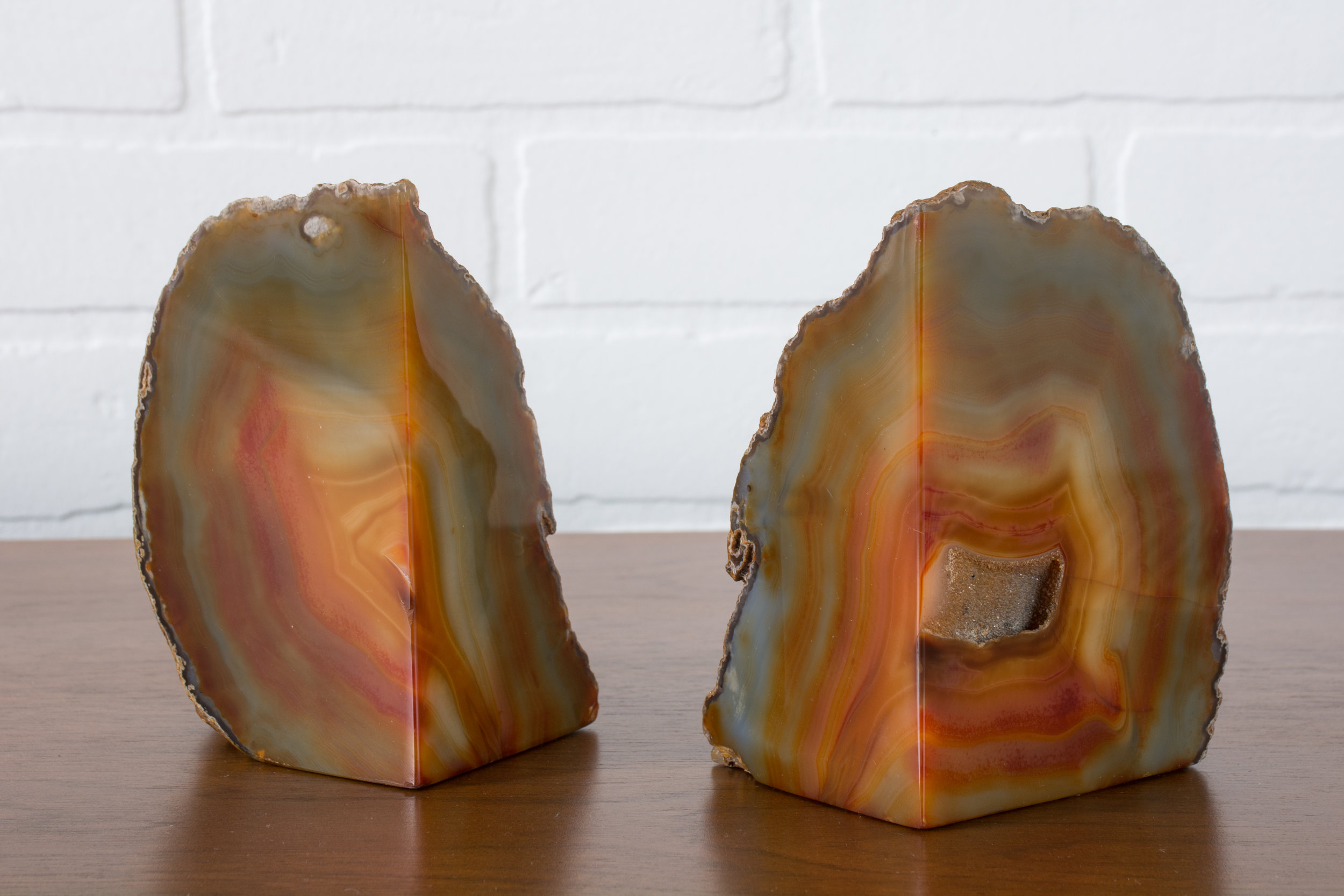 Pair of Vintage Geode Bookends from Brazil