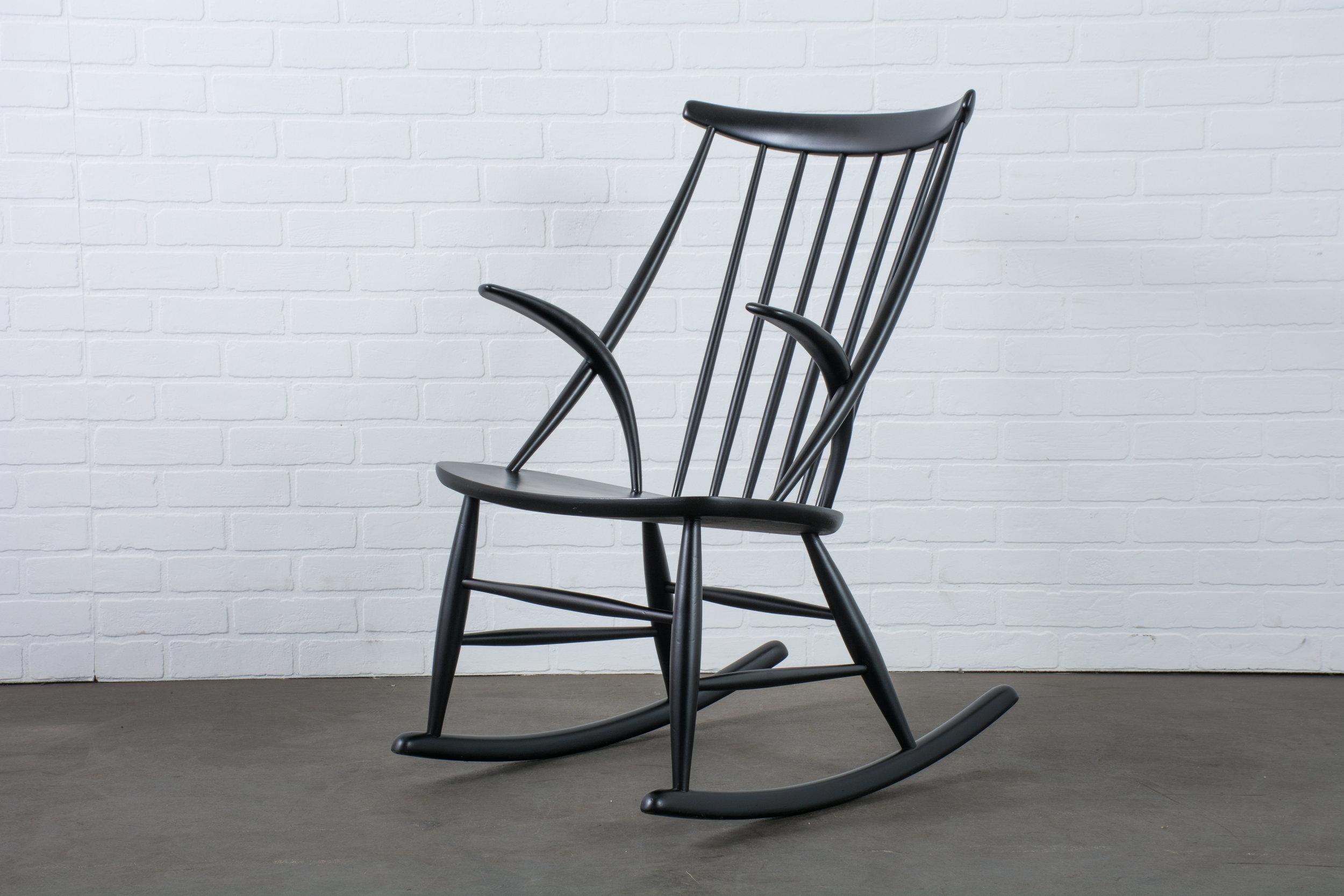 Illum Wikkelso Black Rocking Chair Denmark 1950 S Mid Century Modern Finds