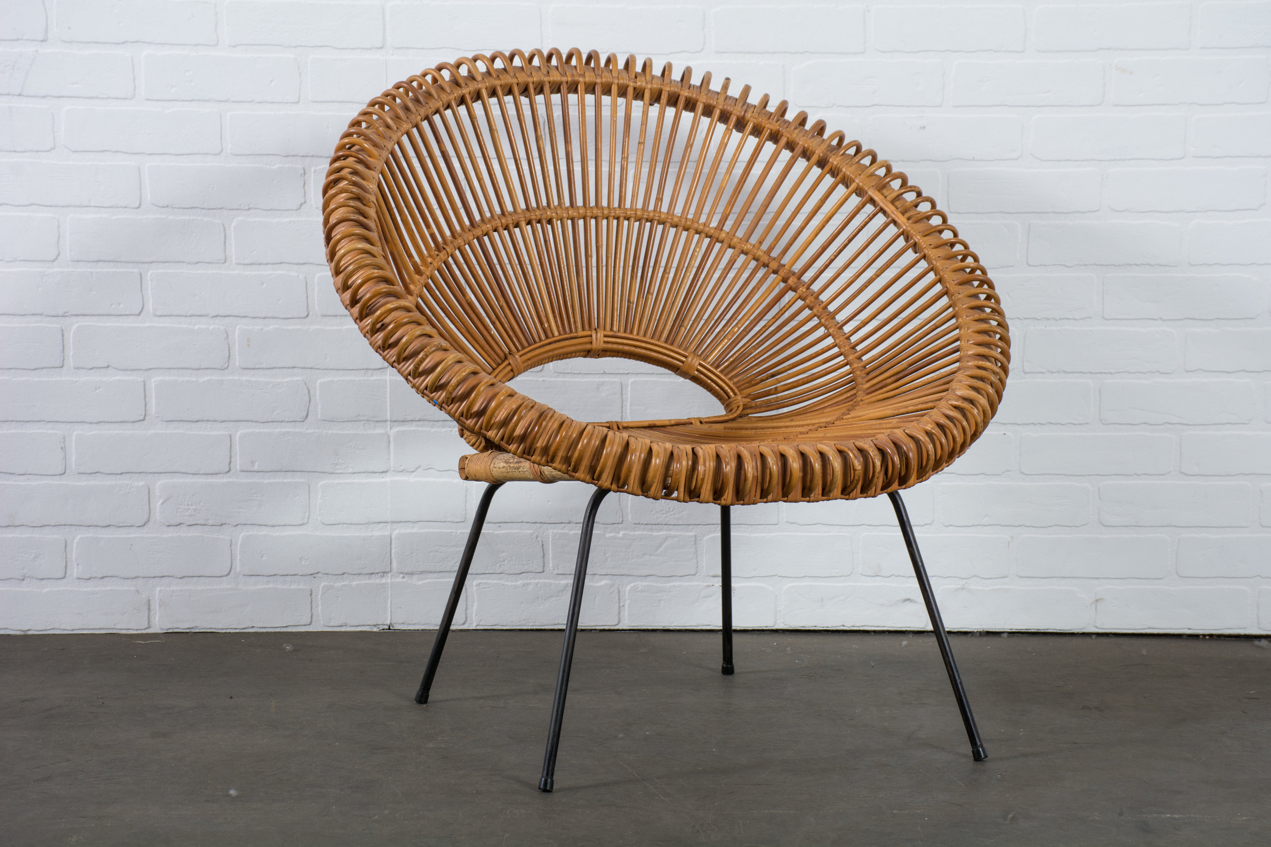 Vintage Mid-Century Rattan Chair in Manner of Janine Abraham and Dirk Jan Rol