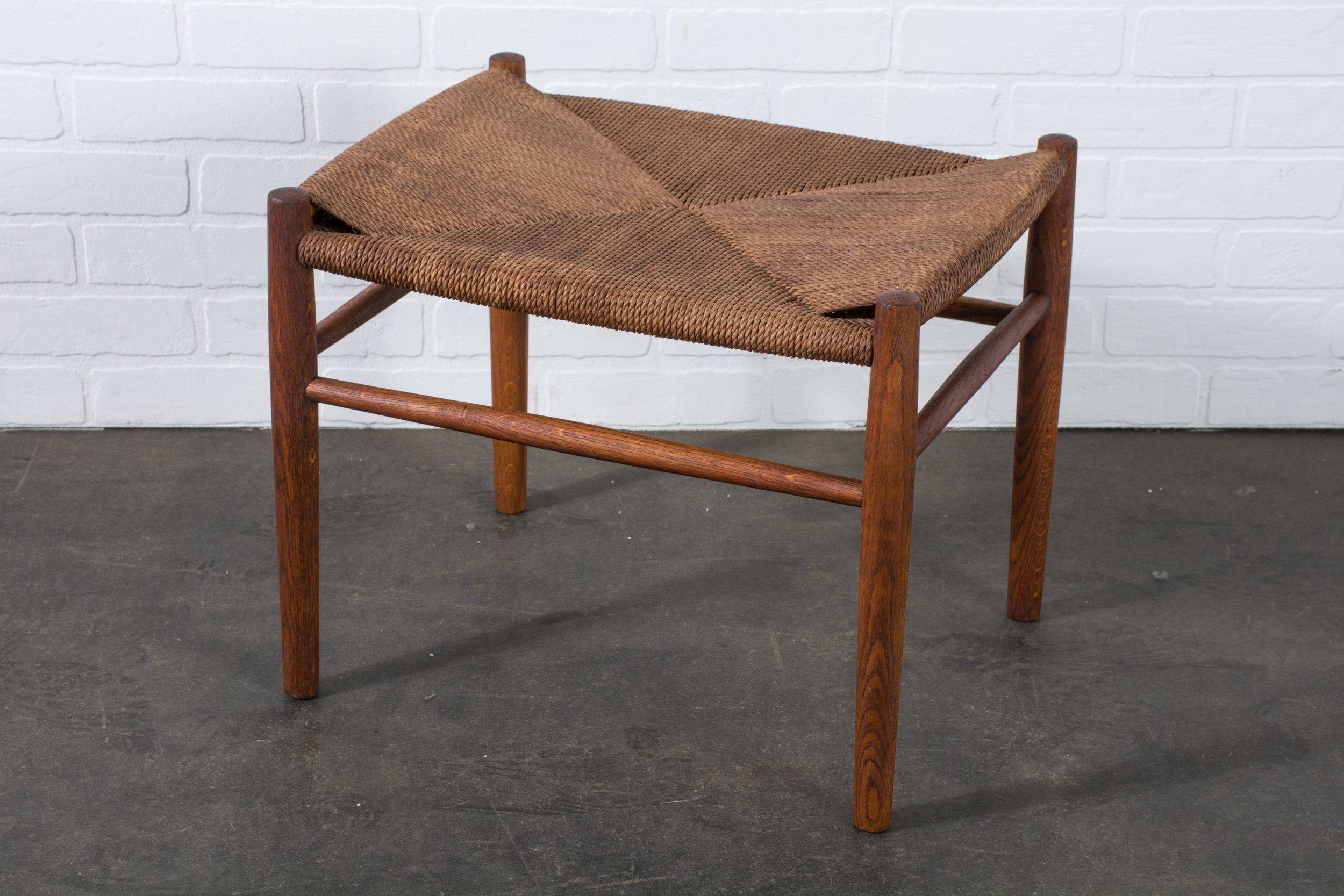 Copy of Vintage Mid-Century Hans Wegner Stool or Ottoman