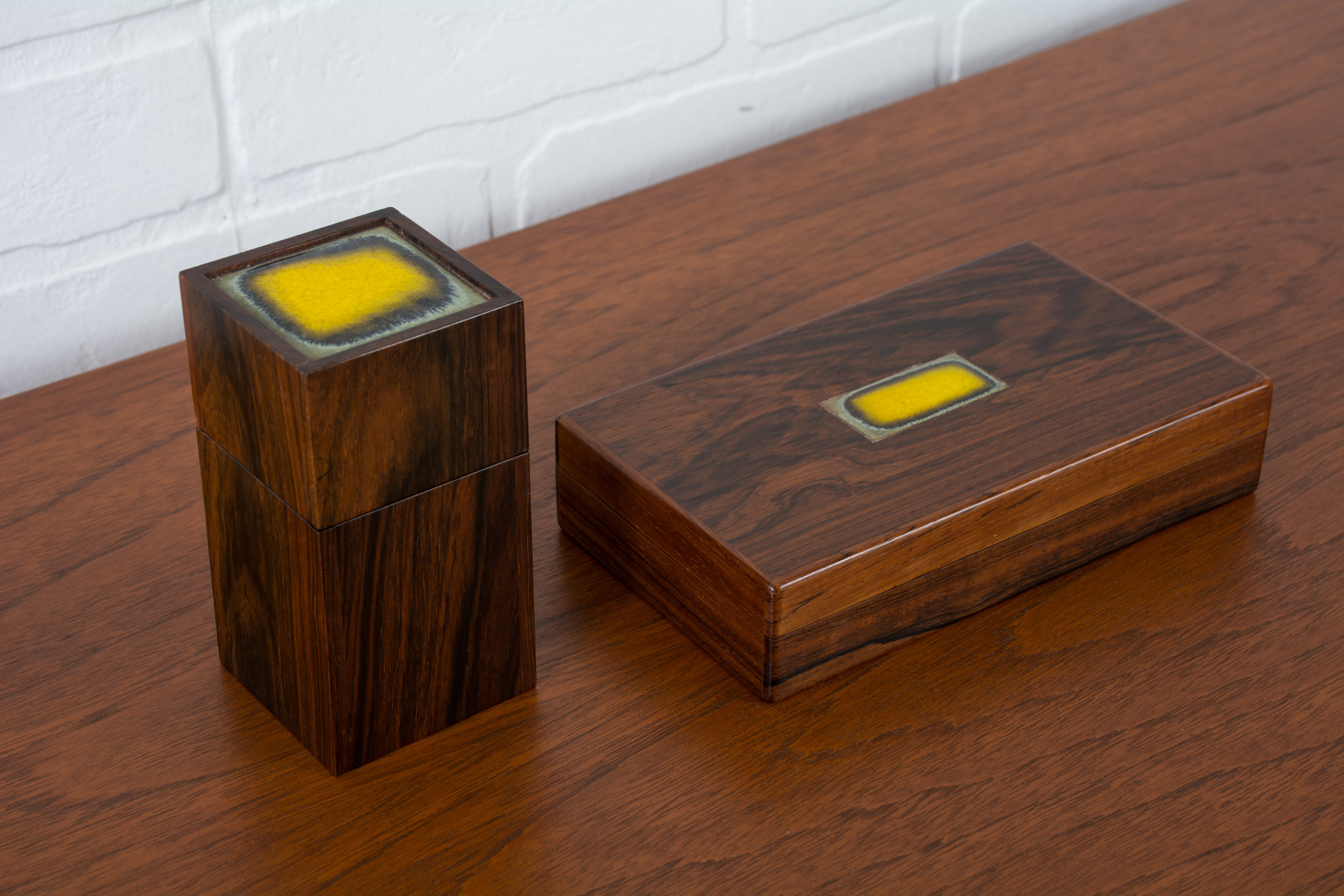 Set of Two Danish Modern Rosewood Boxes by Bodil Eje for Alfred Klitgaard