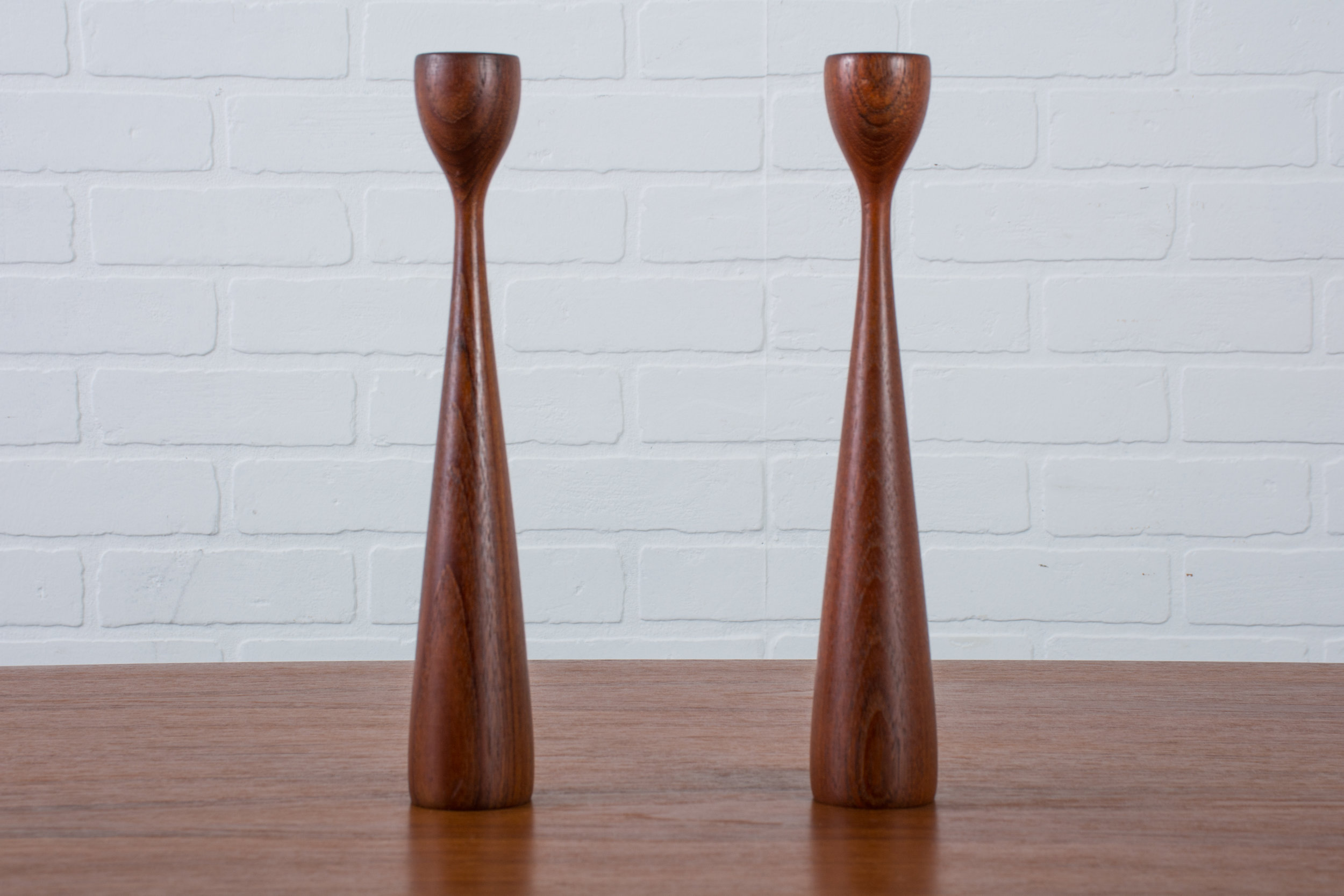 Copy of Pair of Mid-Century Modern Teak Candlesticks