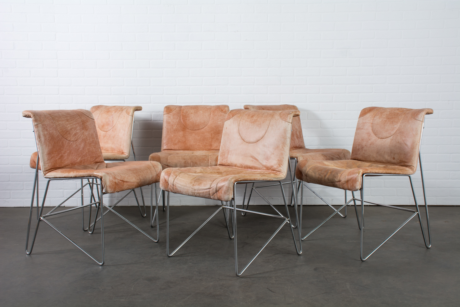 I4 Mariani Set Of Six Leather And Chrome Dining Chairs Italy 1970s Mid Century Modern Finds