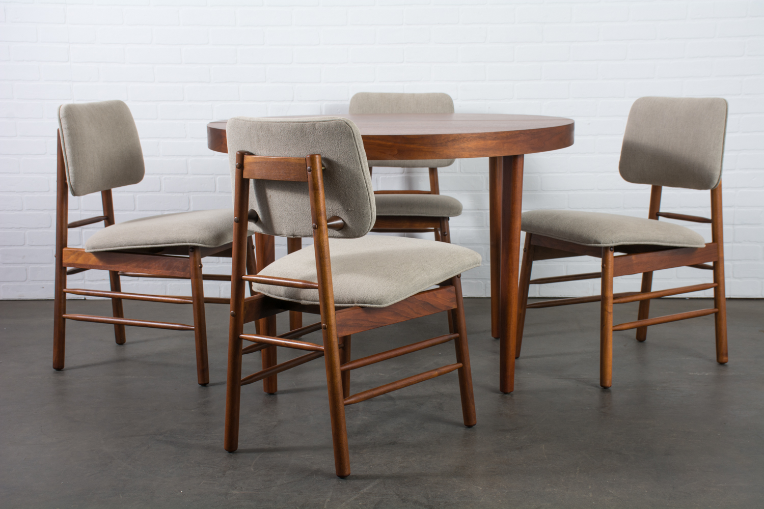Greta Grossman Walnut Dining Table and Four Chairs