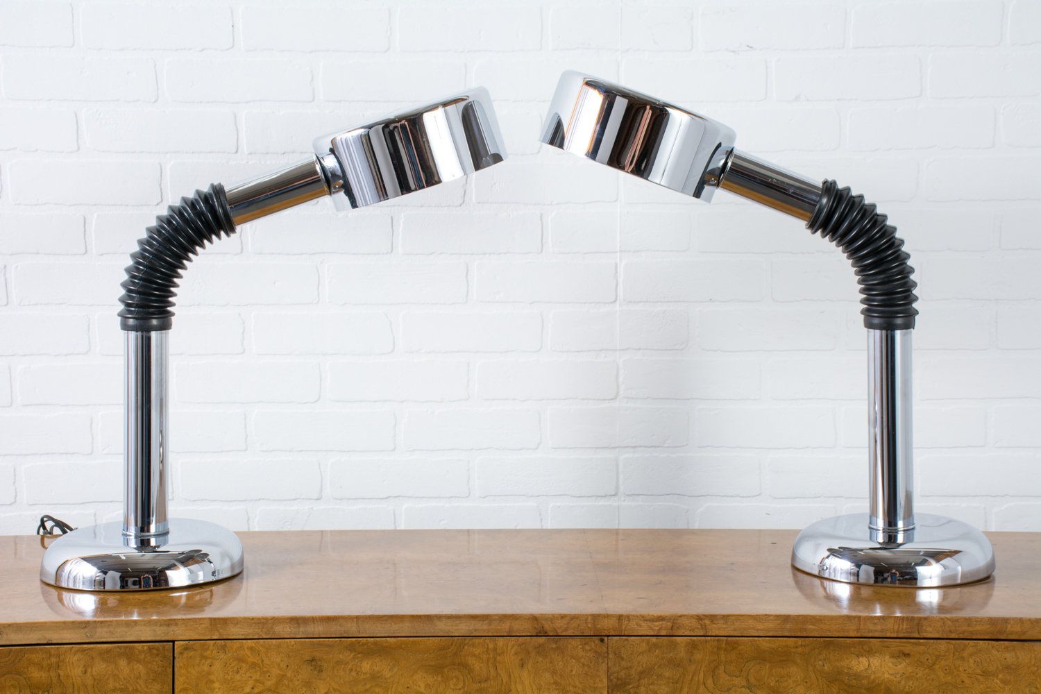 Pair of Mid-Century Modern Chrome Gooseneck Lamps