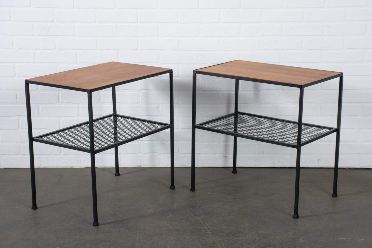 Vintage Mid-Century Arbuck Wrought Iron and Walnut Side Tables