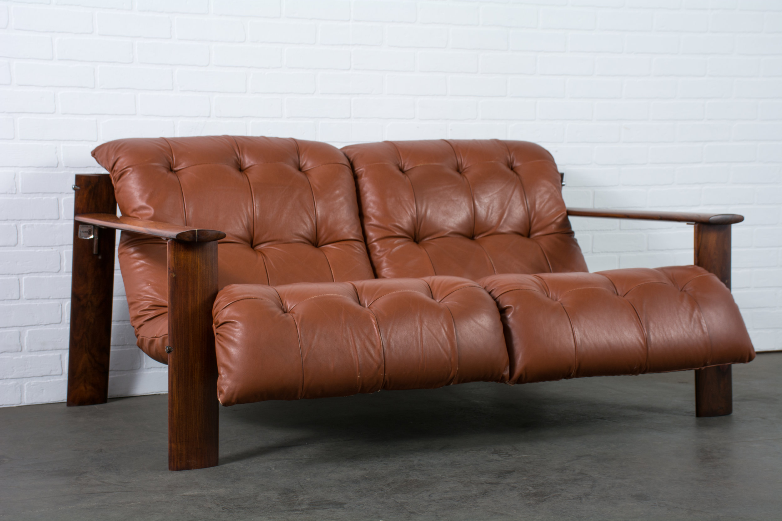 Percival Lafer Leather and Rosewood Loveseat