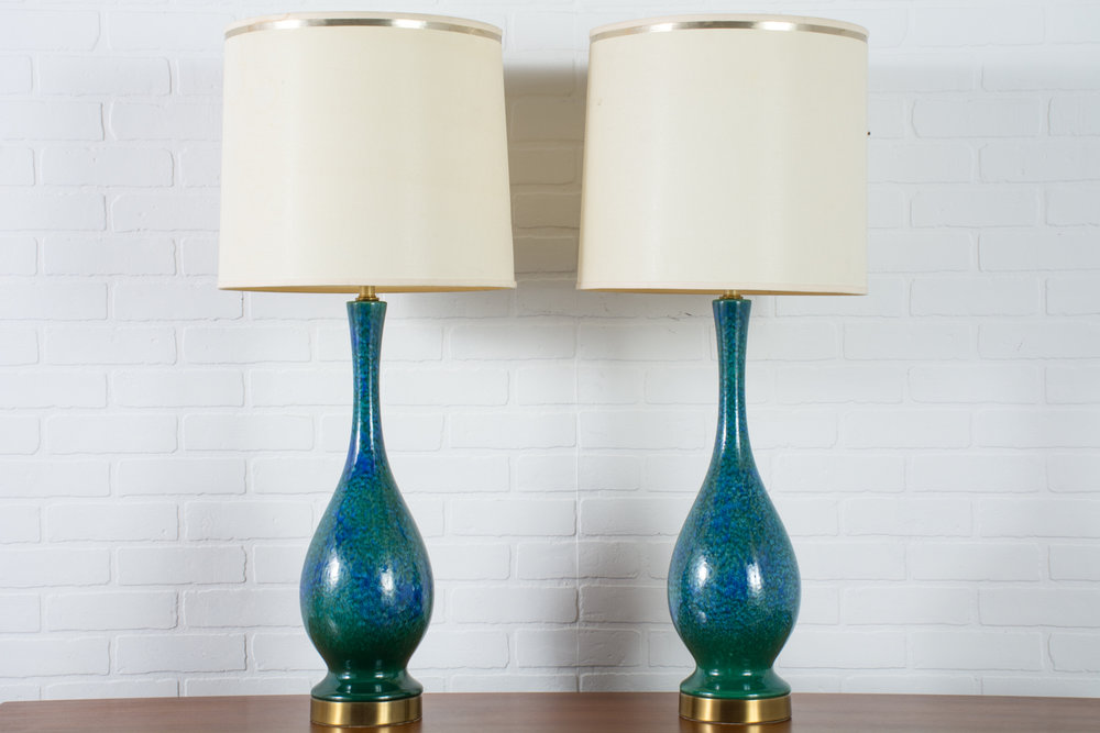 Pair of Vintage Mid-Century Blue and Green Ceramic Table Lamps, 1960s