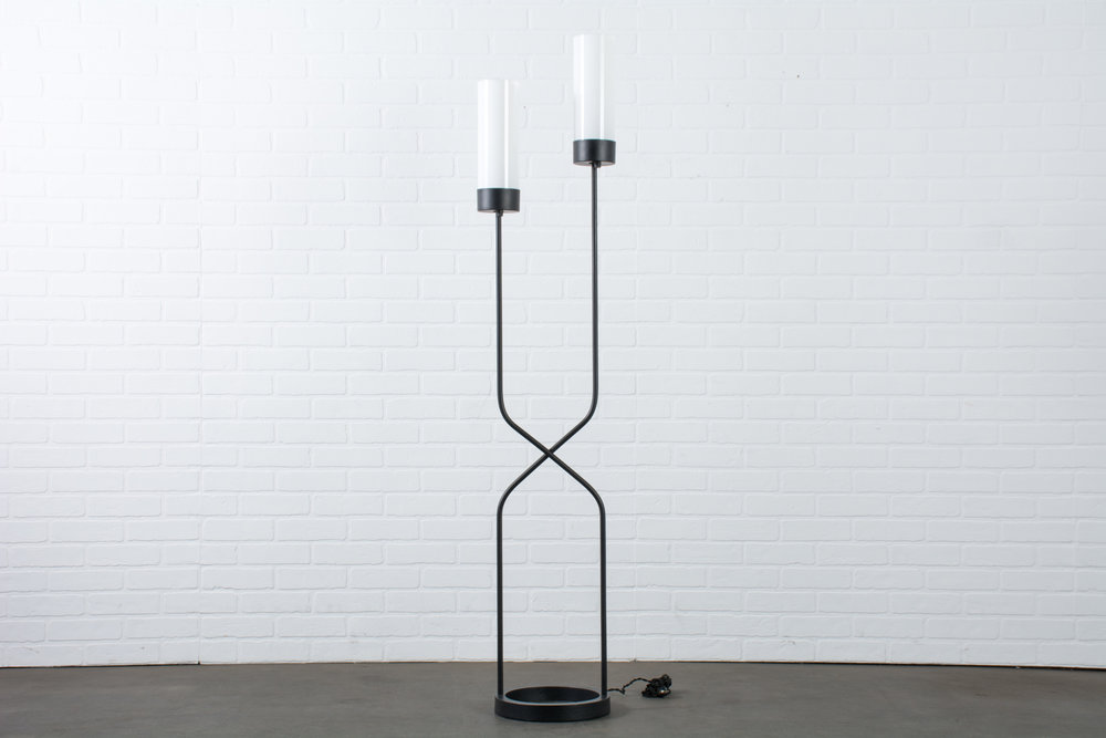 Robert Bulmore Two Stem Cast Iron Floor Lamp, 1950s