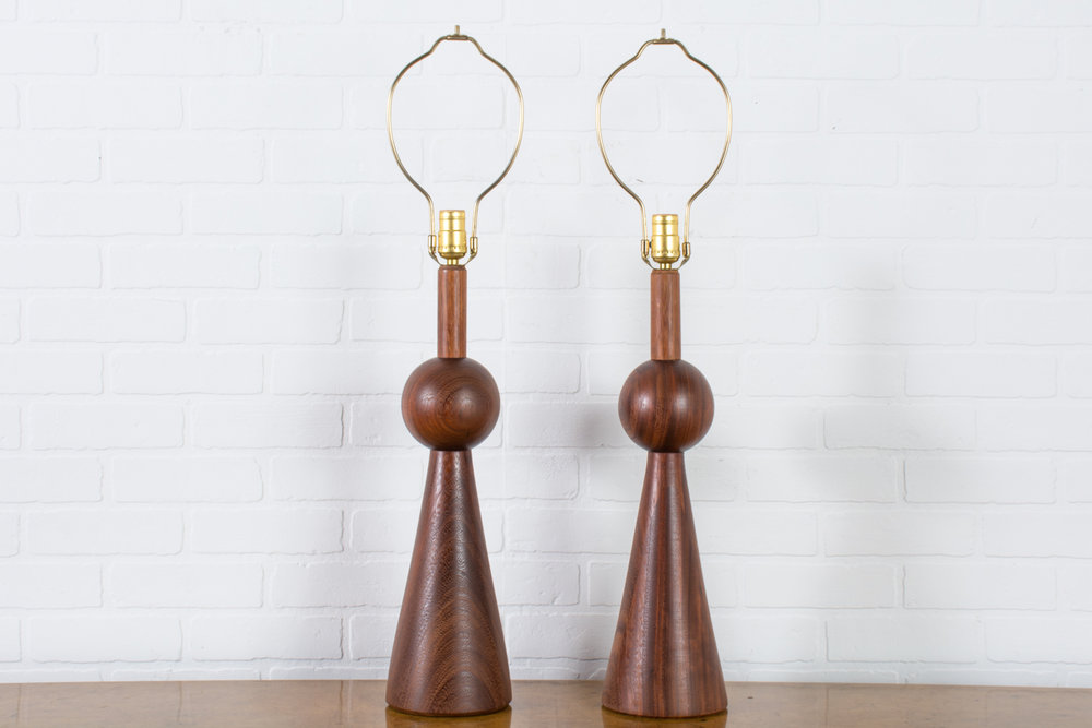 Pair of Vintage Mid-Century Geometric Walnut Table Lamps