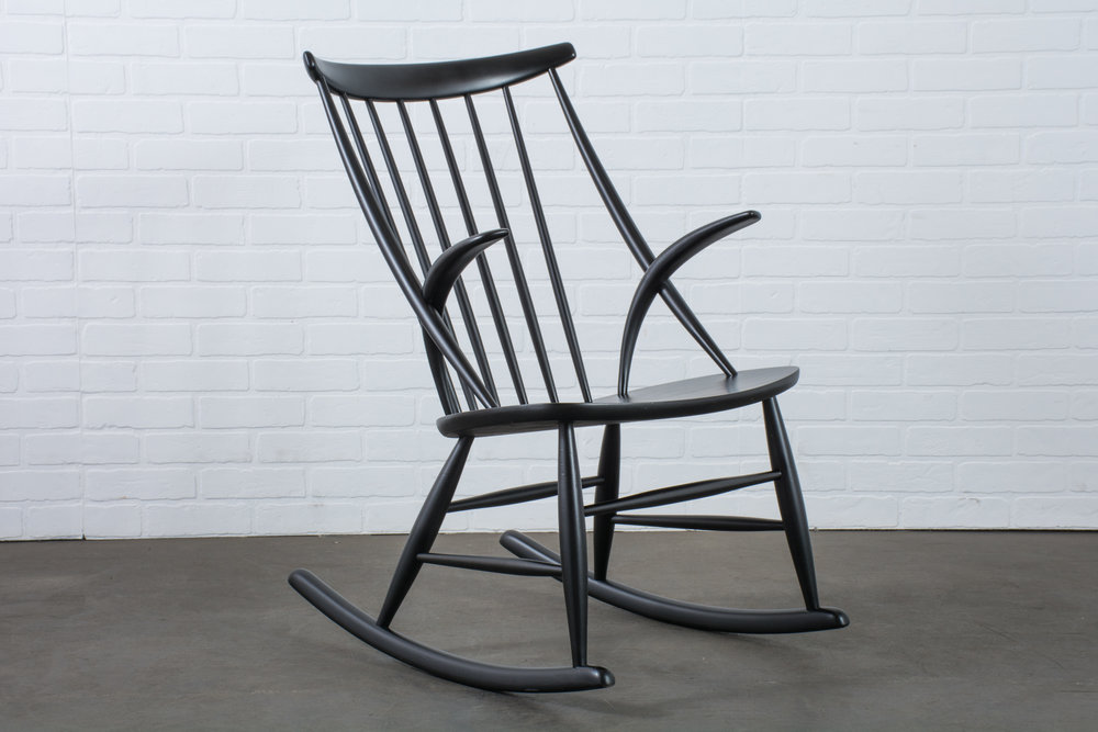 Illum Wikkelso Black Rocking Chair, Denmark, 1950's